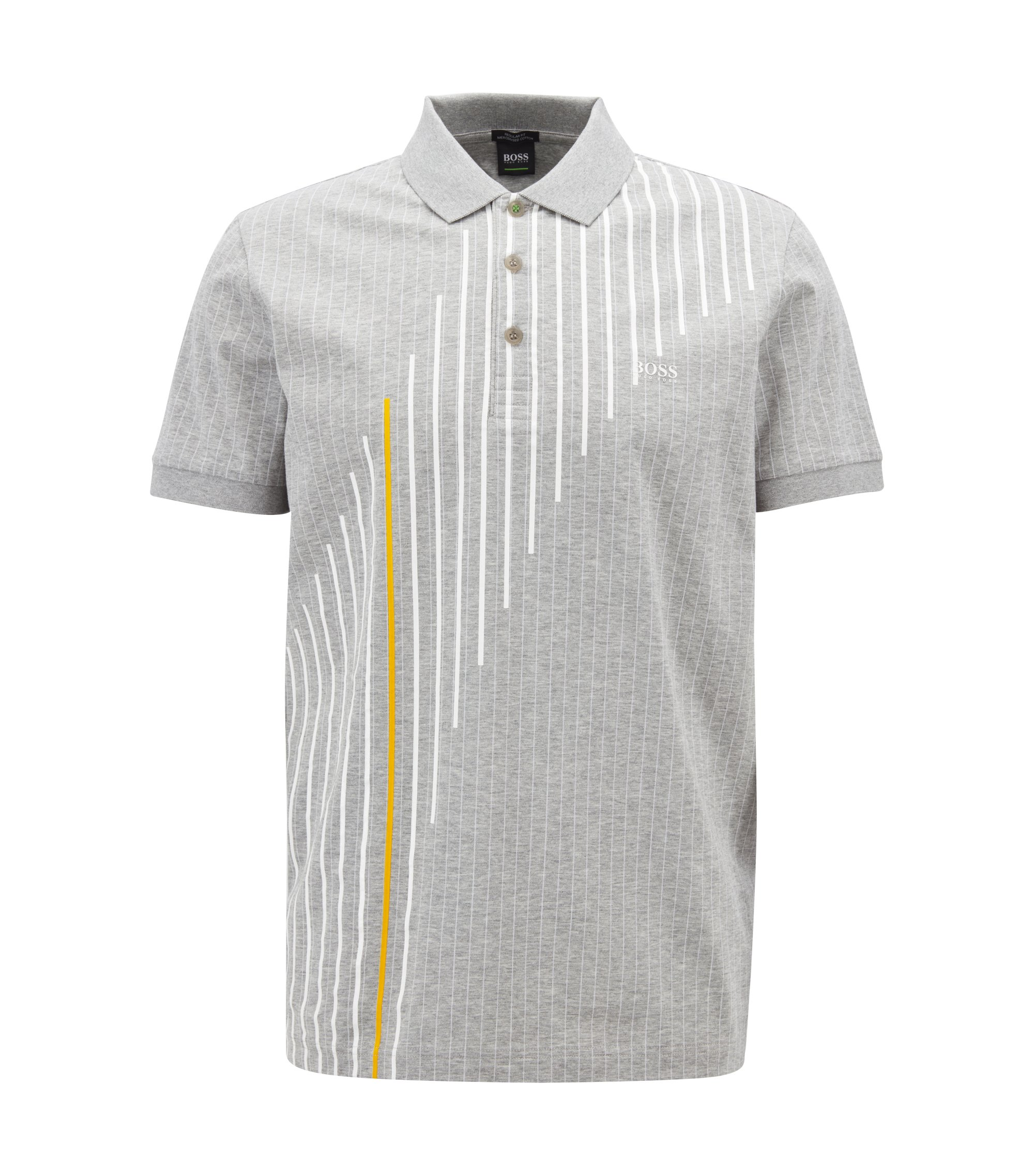 Polo Regular Fit en coton mercerisé à rayures tennis, Gris chiné