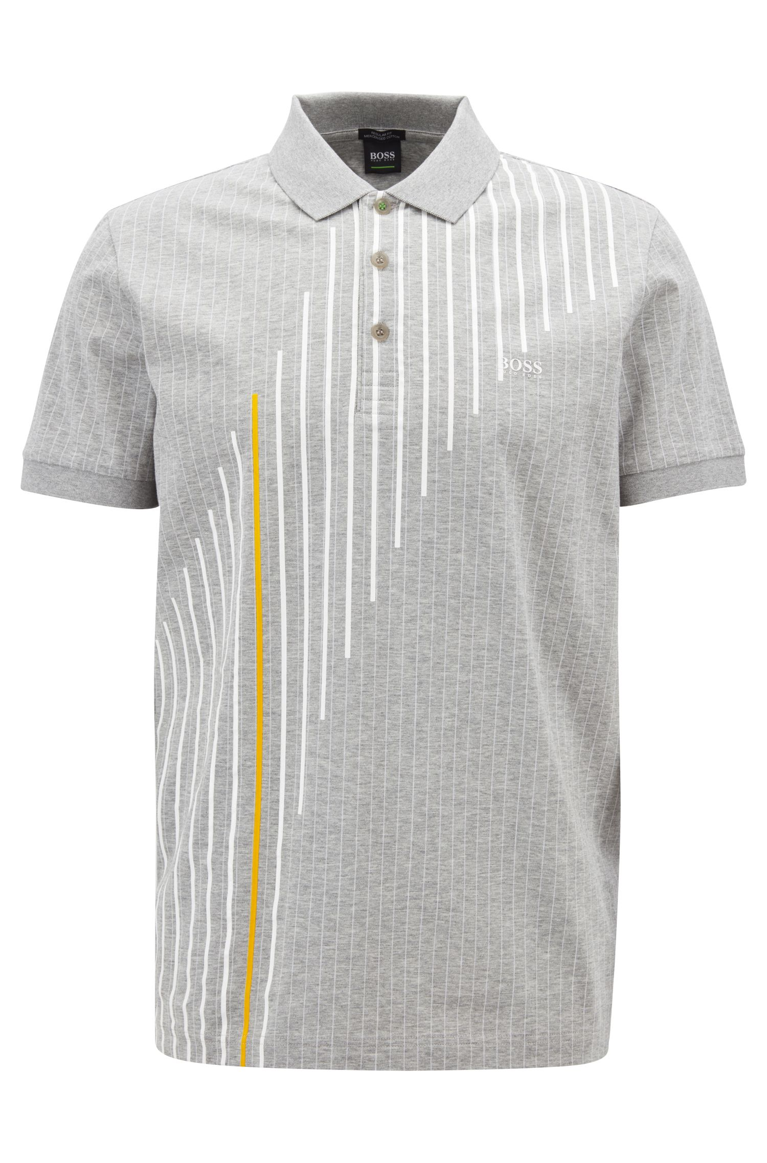 Regular-fit pinstripe polo shirt in mercerised cotton, Light Grey