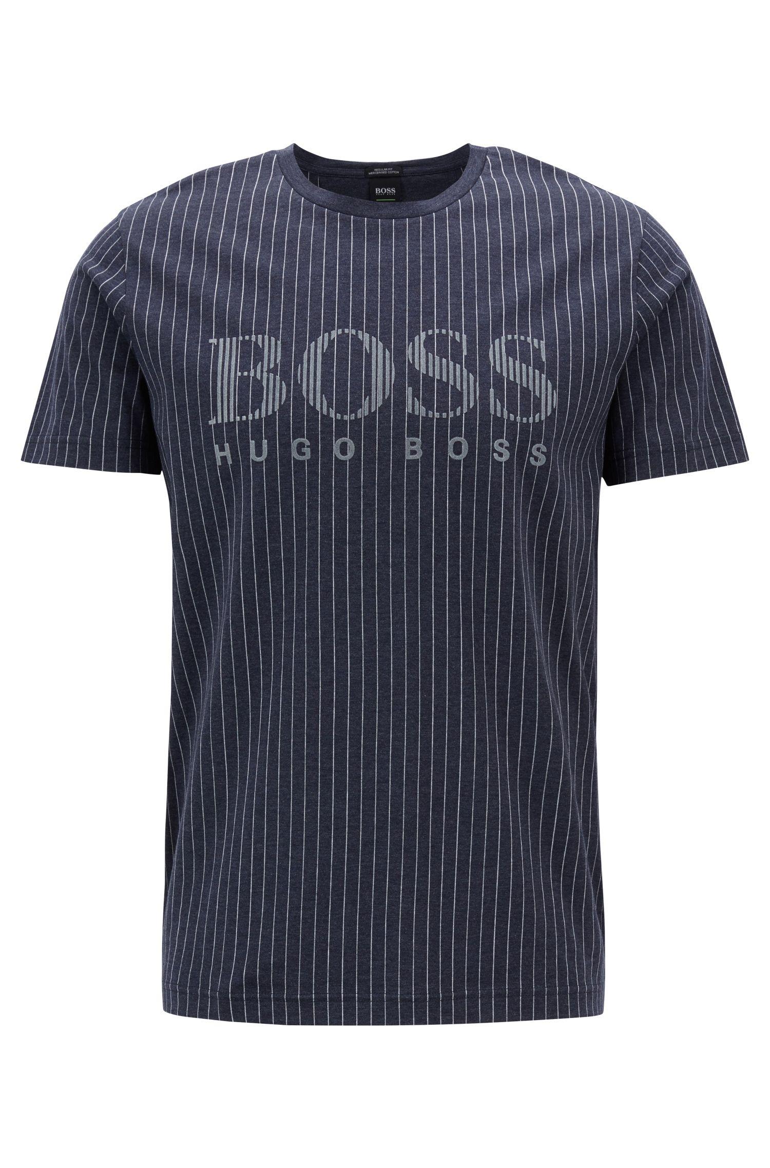 T-shirt van gemerceriseerde katoen met vlokprintlogo en krijtstrepen, Donkerblauw