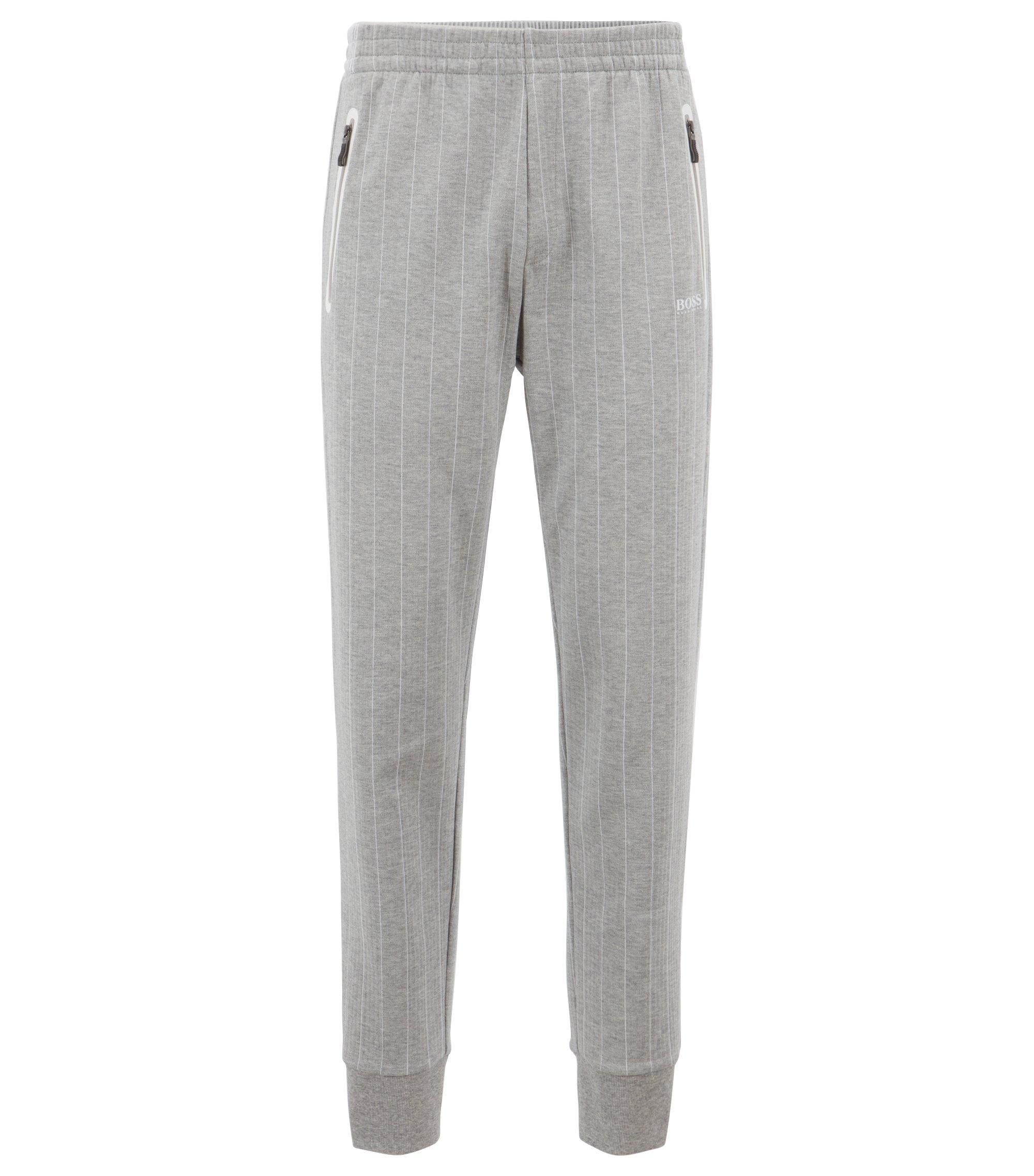 Pantalon de jogging resserré au bas des jambes en coton double face à rayures tennis, Gris chiné