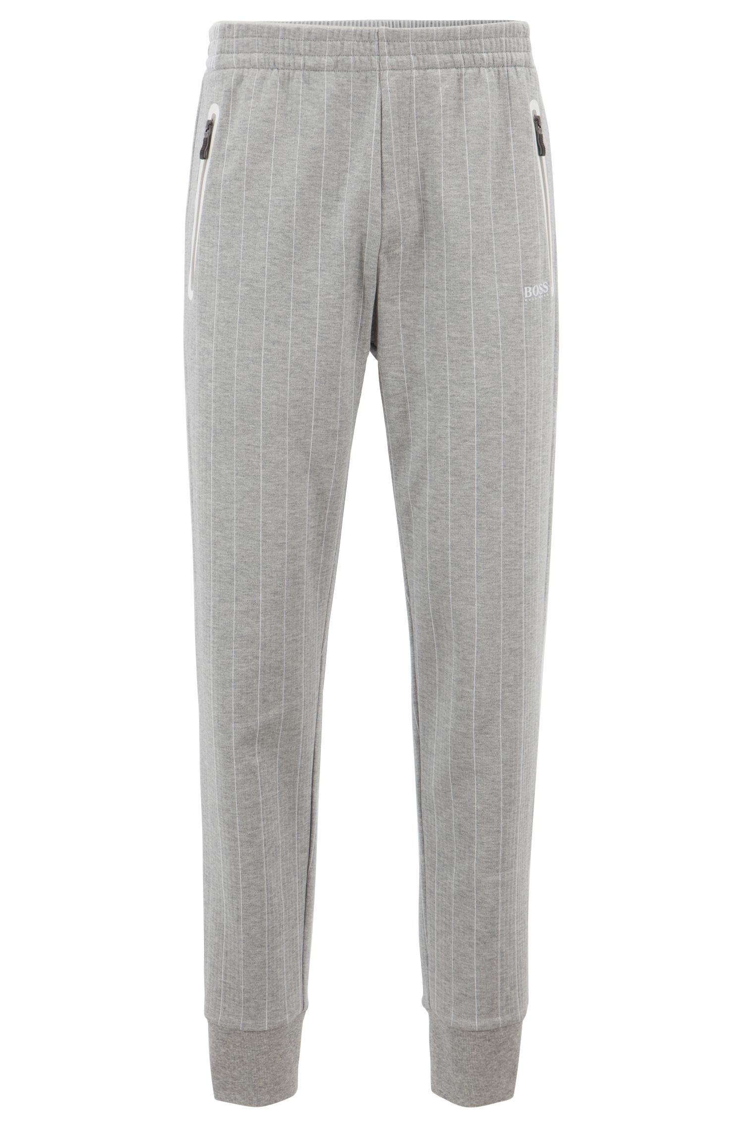 Cuffed jogging bottoms in pinstripe double-faced cotton