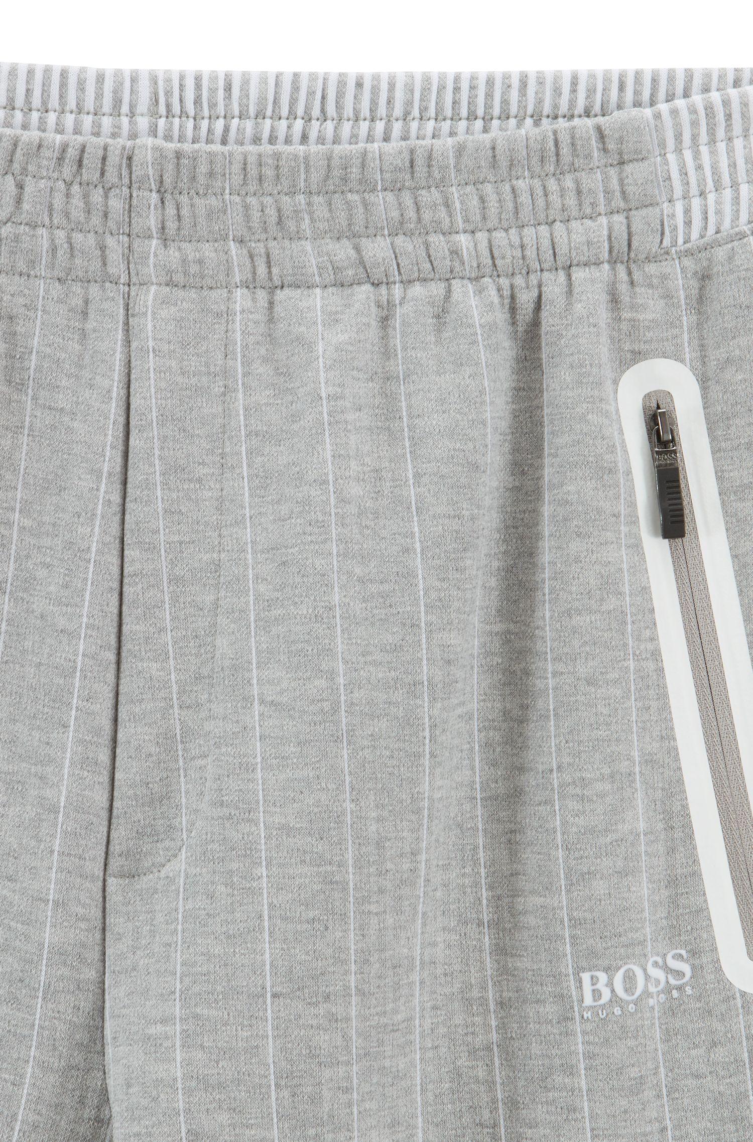Jogginghose aus zweiseitiger Baumwolle mit Nadelstreifen, Hellgrau