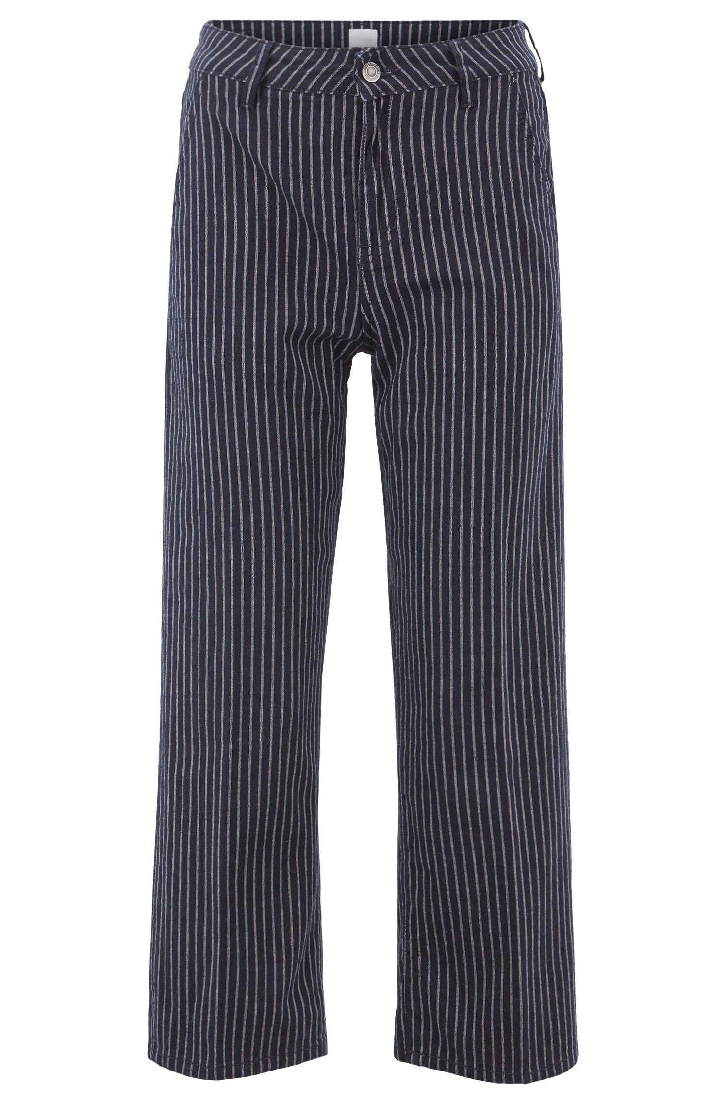 Cropped jeans in pinstripe Italian denim with wide leg, Dark Blue