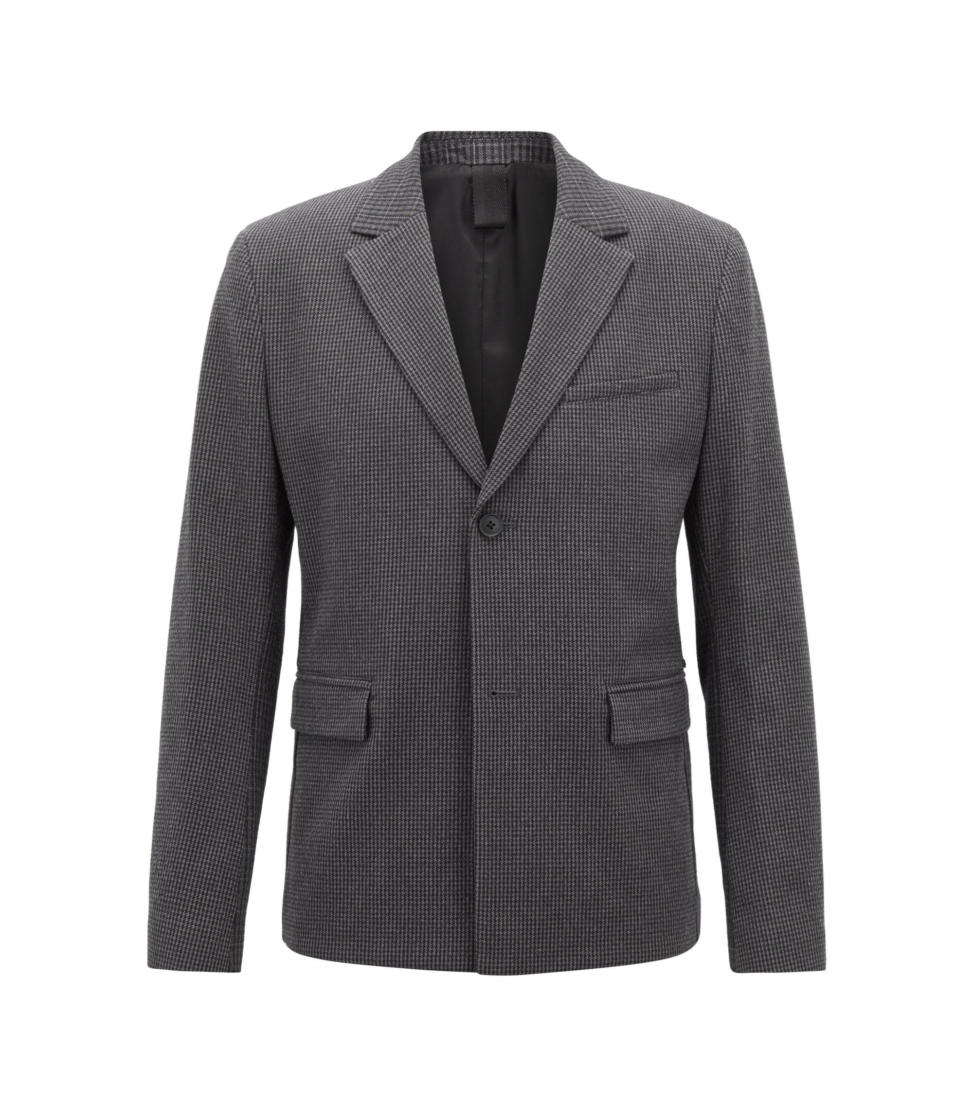 Veste Slim Fit en tissu stretch italien à motif pied-de-poule, Noir