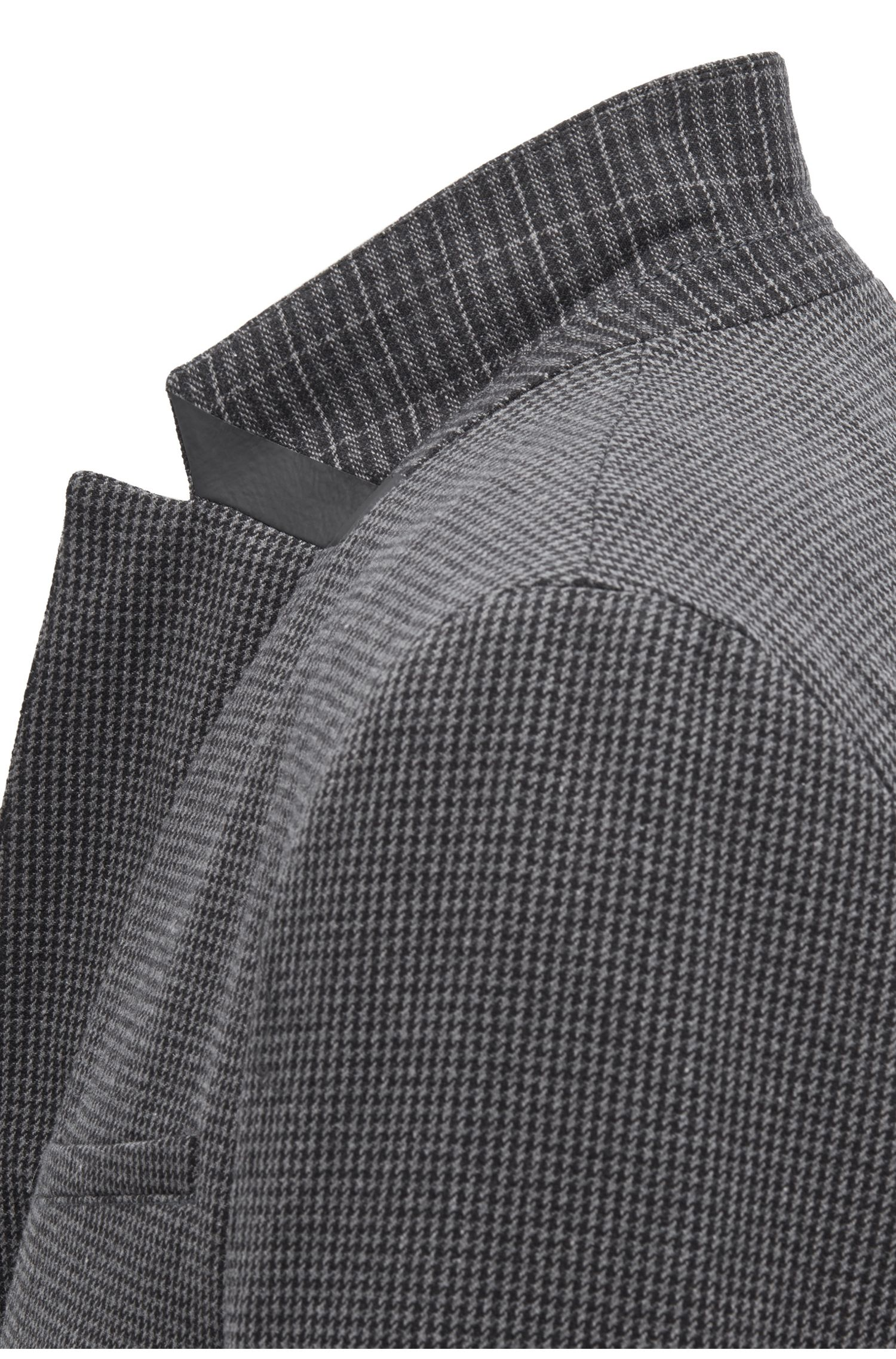 Slim-fit jacket in houndstooth Italian stretch fabric, Black