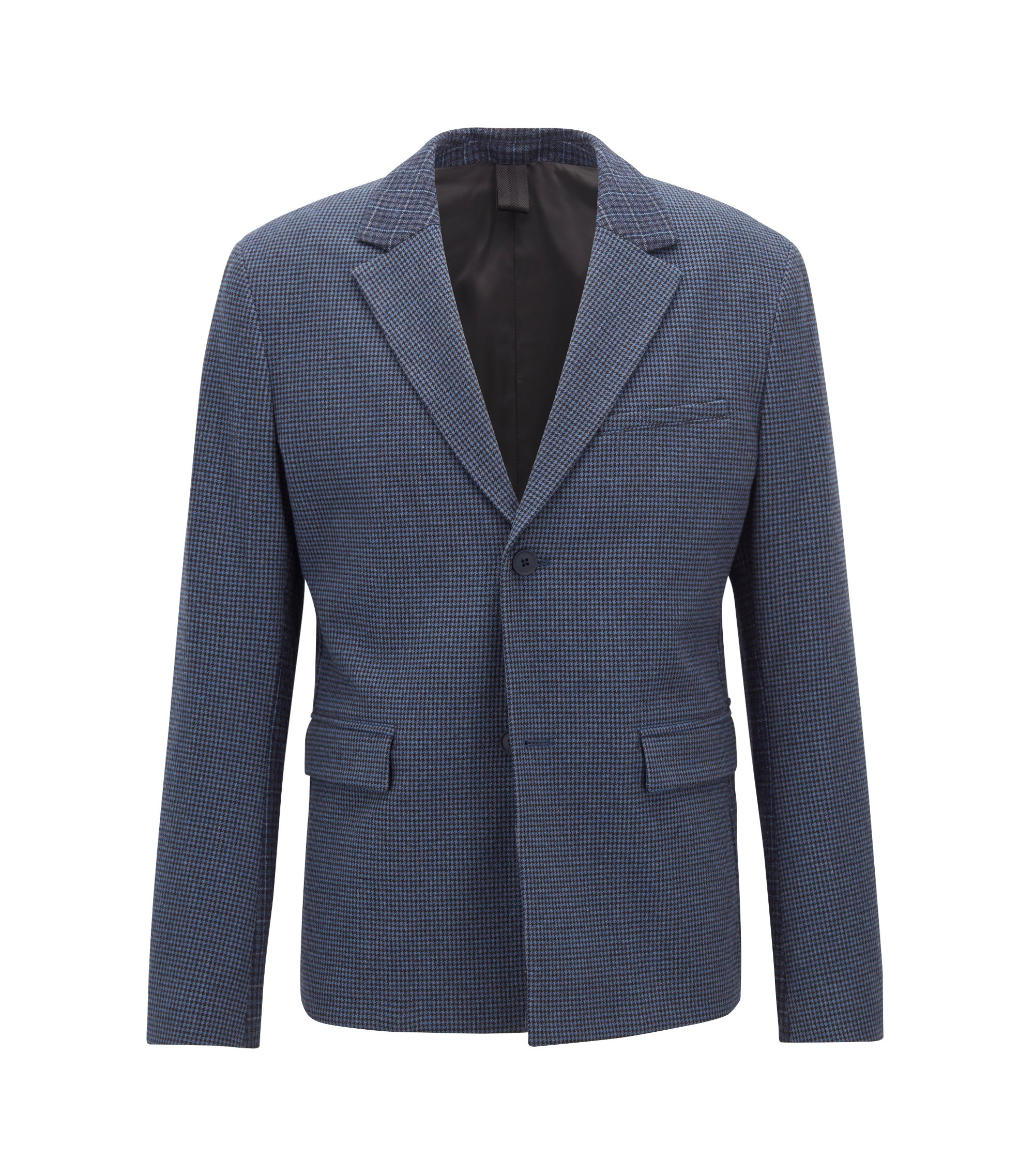 Slim-fit jacket in houndstooth Italian stretch fabric, Dark Blue