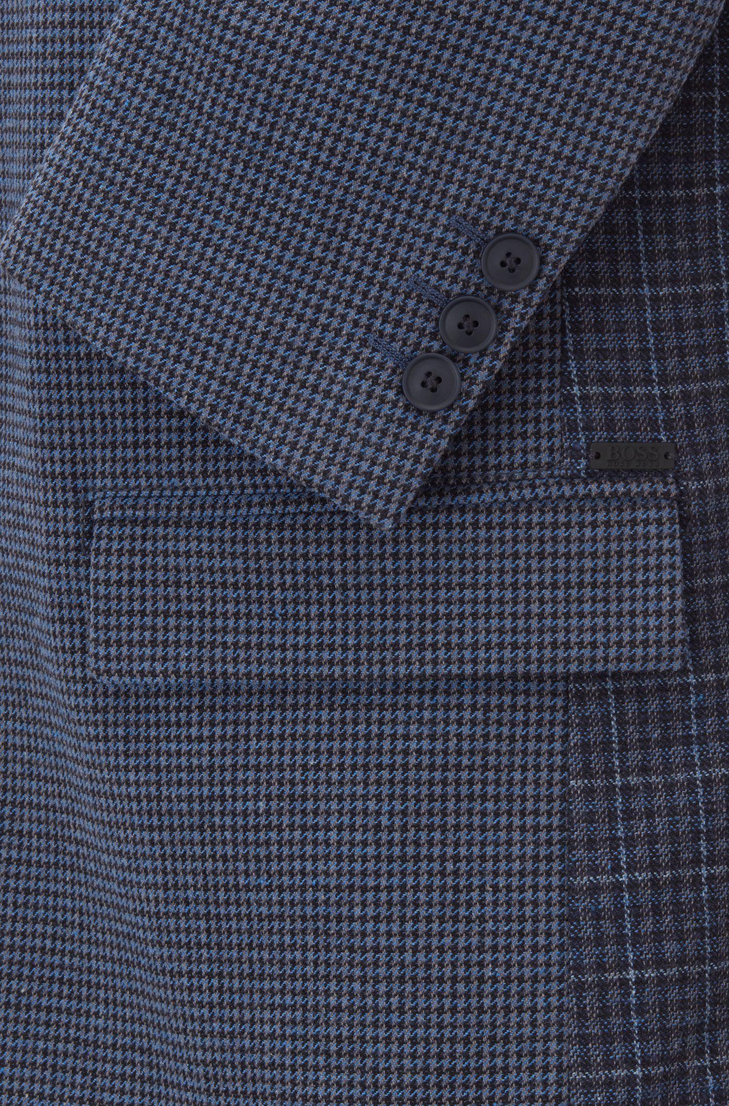 Slim-fit jacket in houndstooth Italian stretch fabric, Dark Blue