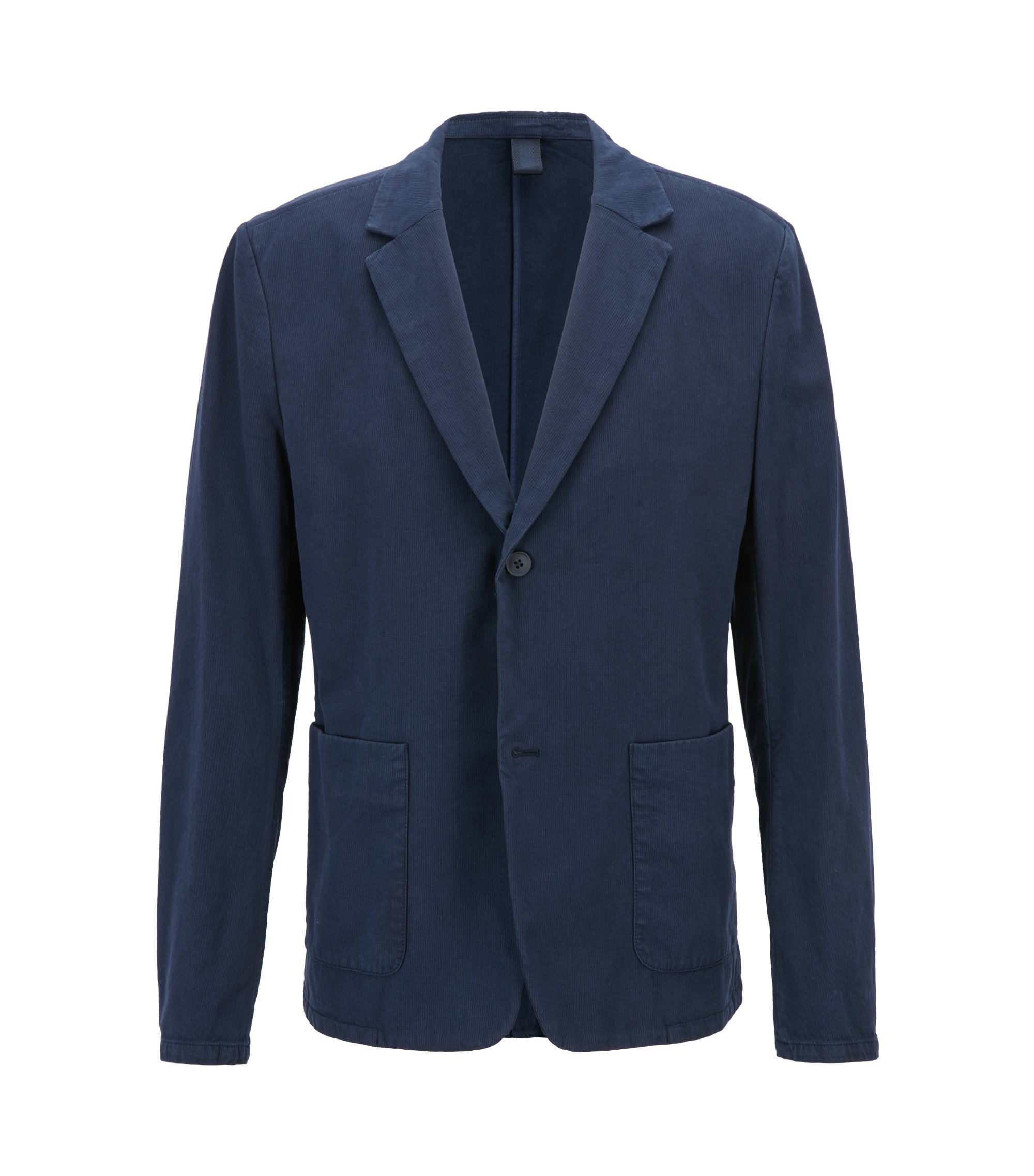 Slim-fit blazer in two-tone stretch cotton, Dark Blue