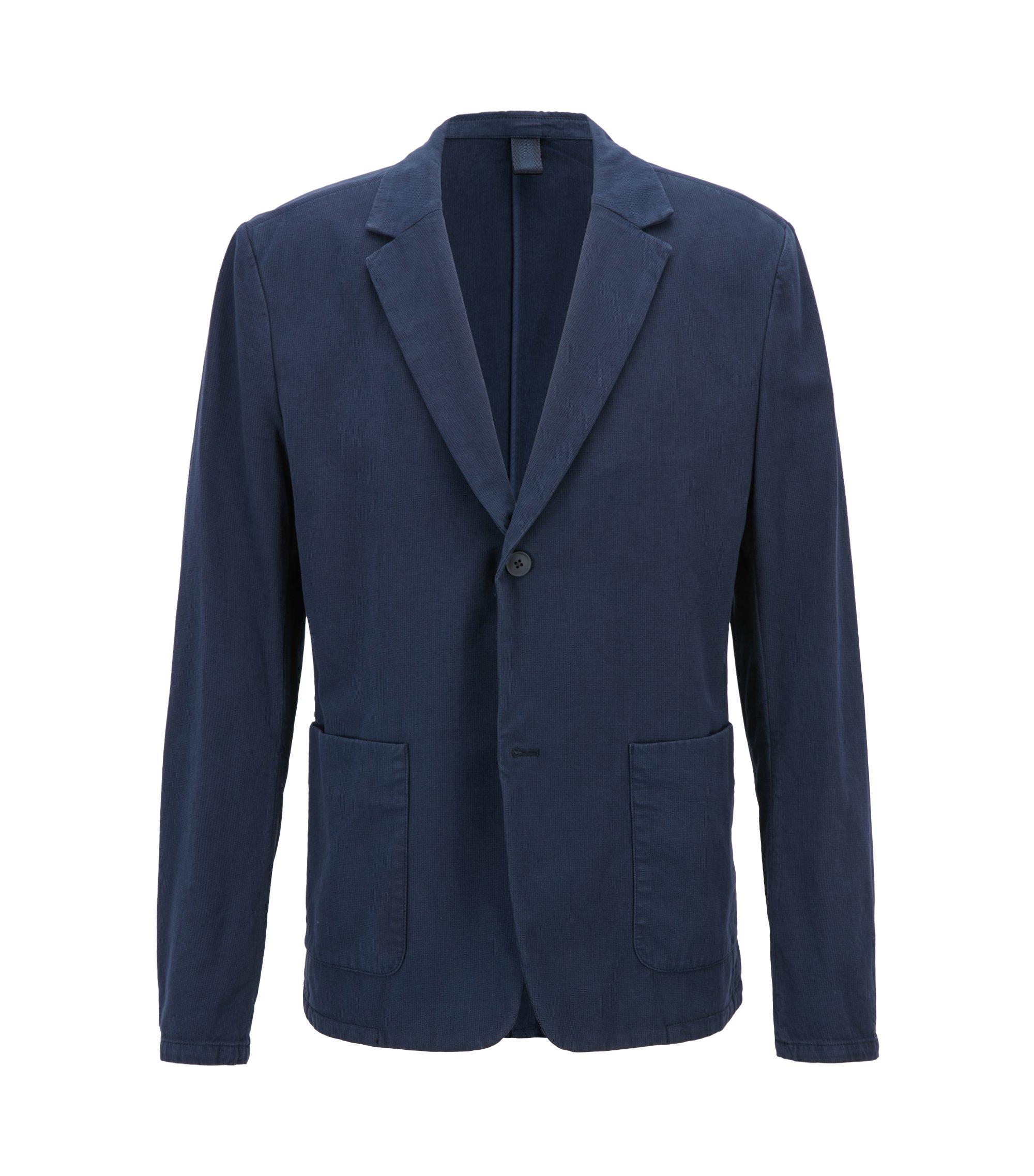 Slim-fit blazer van tweekleurige stretchkatoen, Donkerblauw