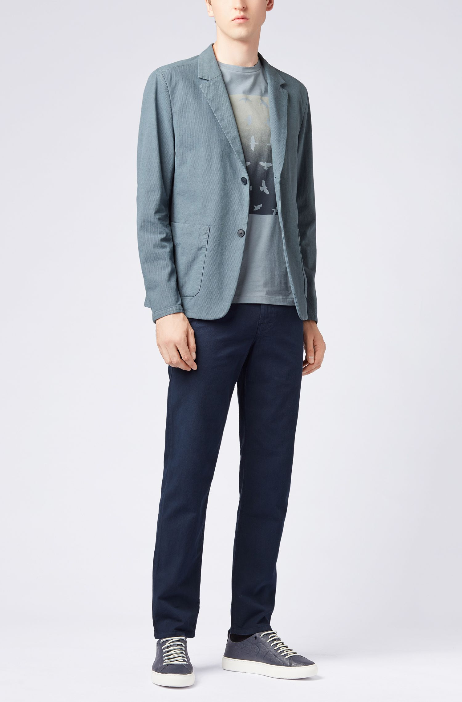 Slim-fit blazer van tweekleurige stretchkatoen