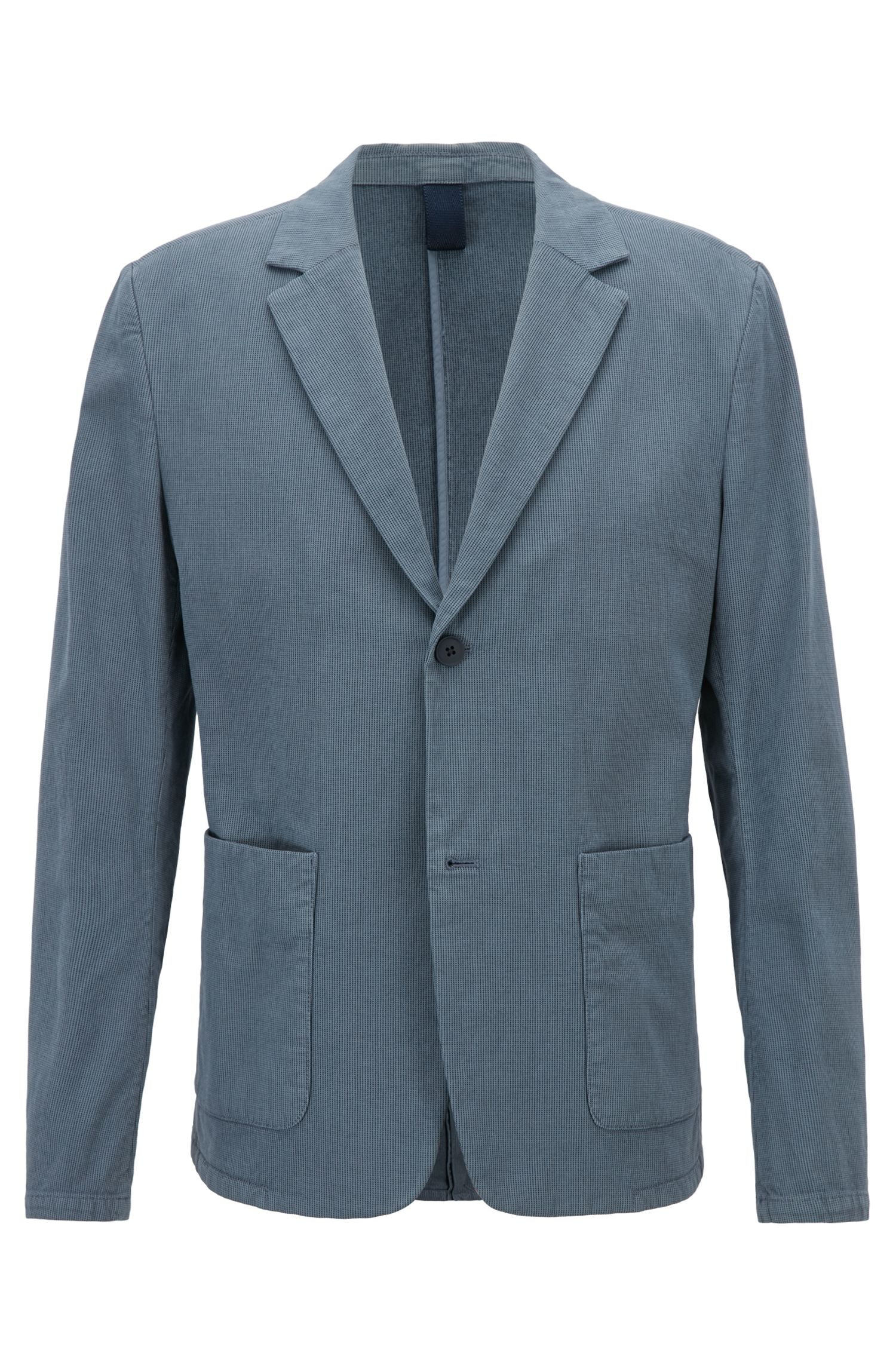 Blazer Slim Fit en coton stretch bicolore, Bleu