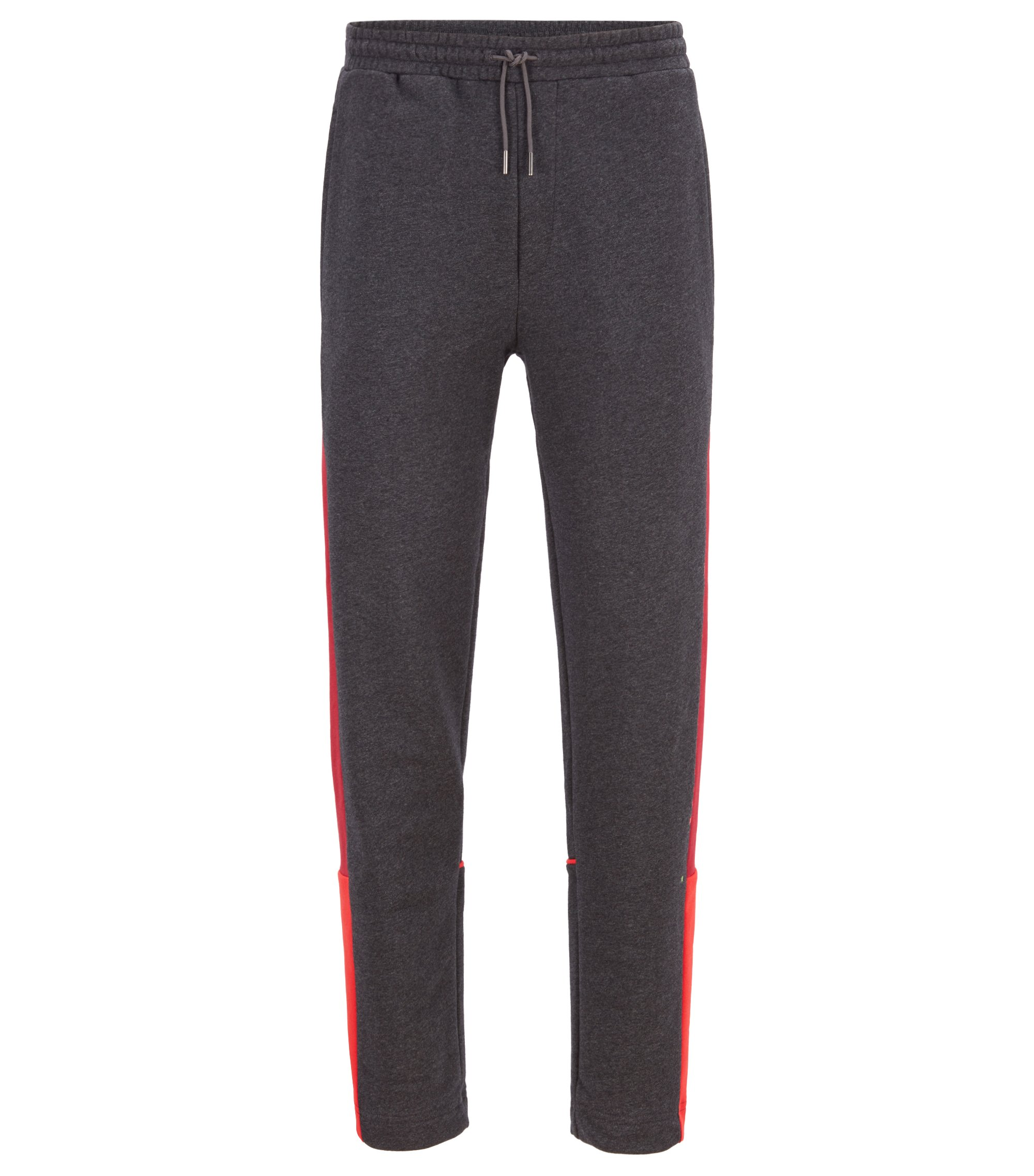 Colour-block jogging bottoms in French terry, Anthracite