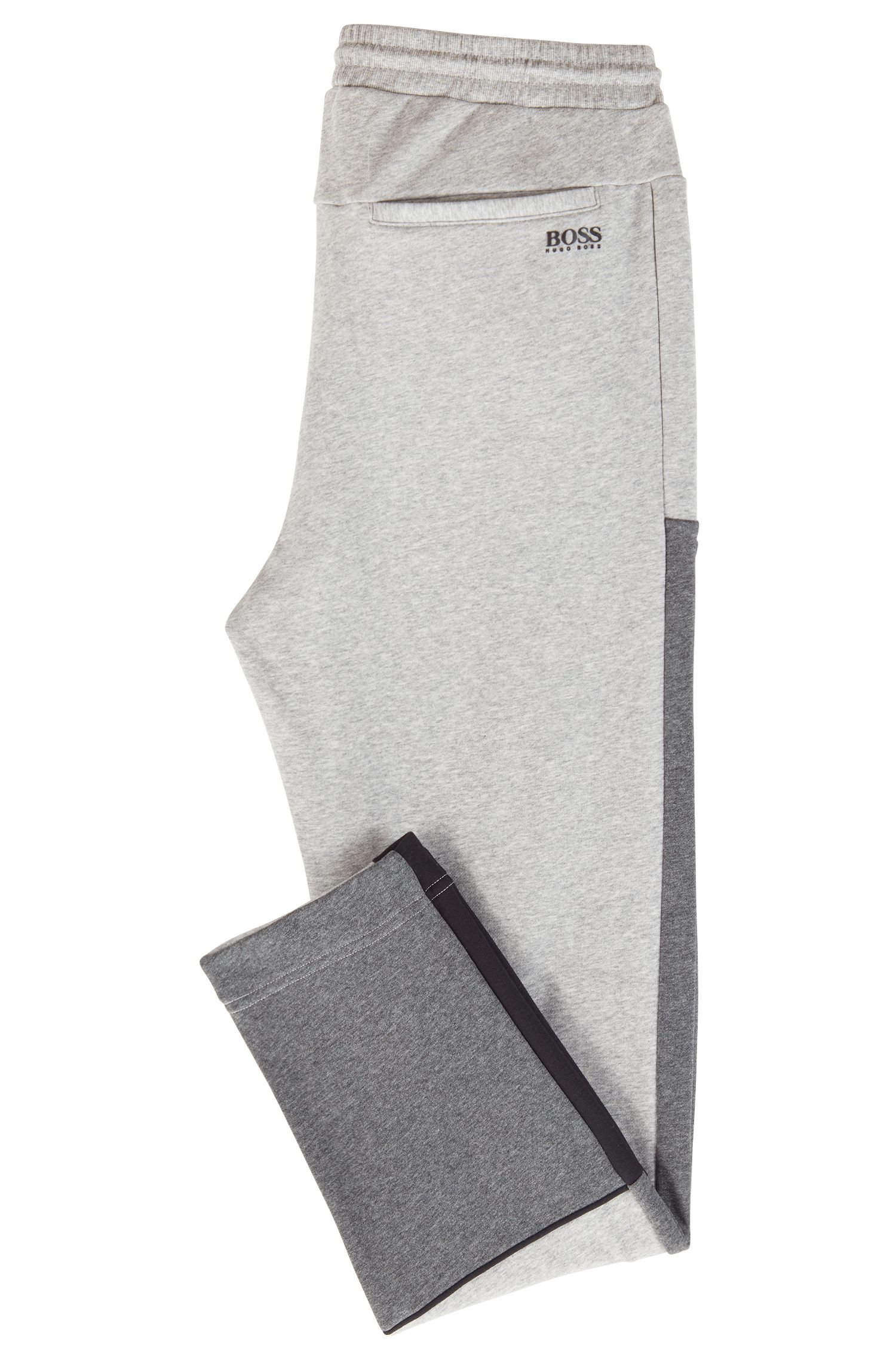 Colour-block jogging bottoms in French terry, Light Grey