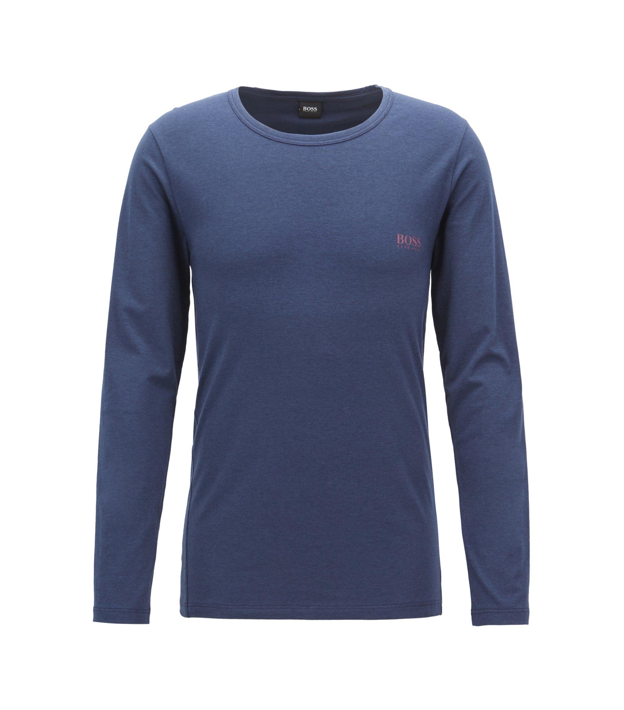 Camiseta interior de manga larga en punto elástico con logo, Azul oscuro