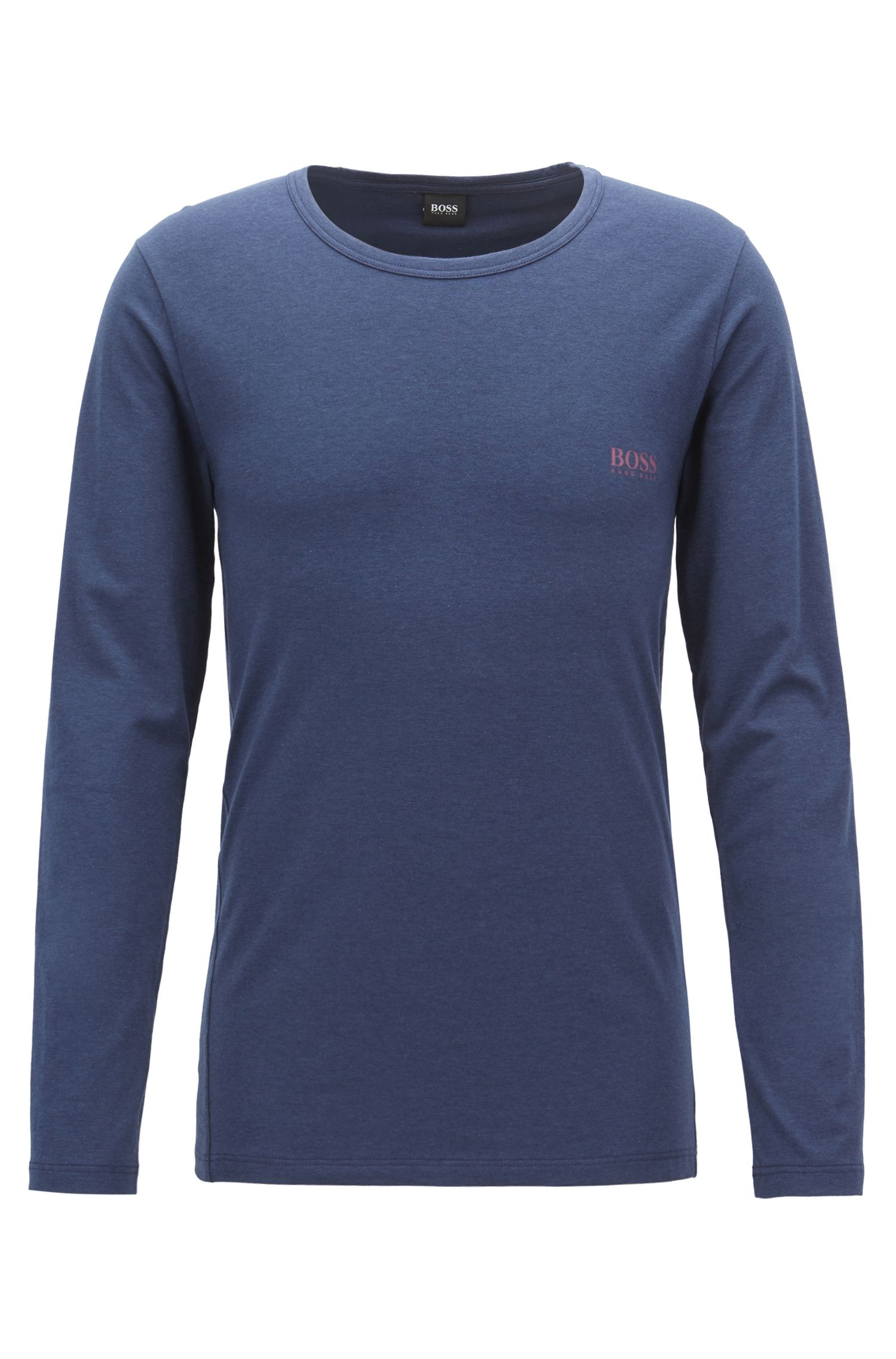 Long-sleeved underwear top in stretch jersey with logo, Dark Blue