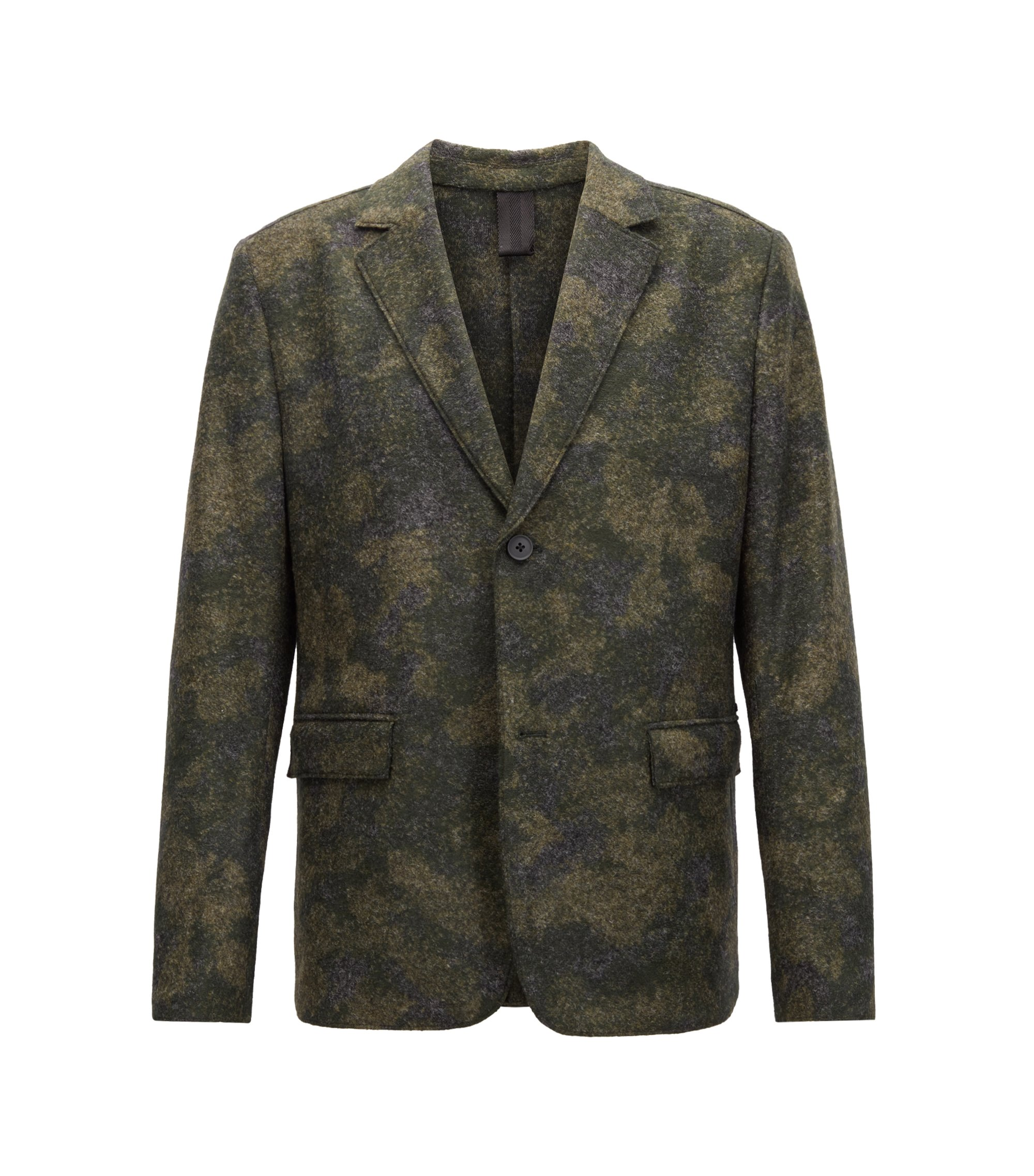 Regular-fit blazer in Italian felted fabric, Dark Green