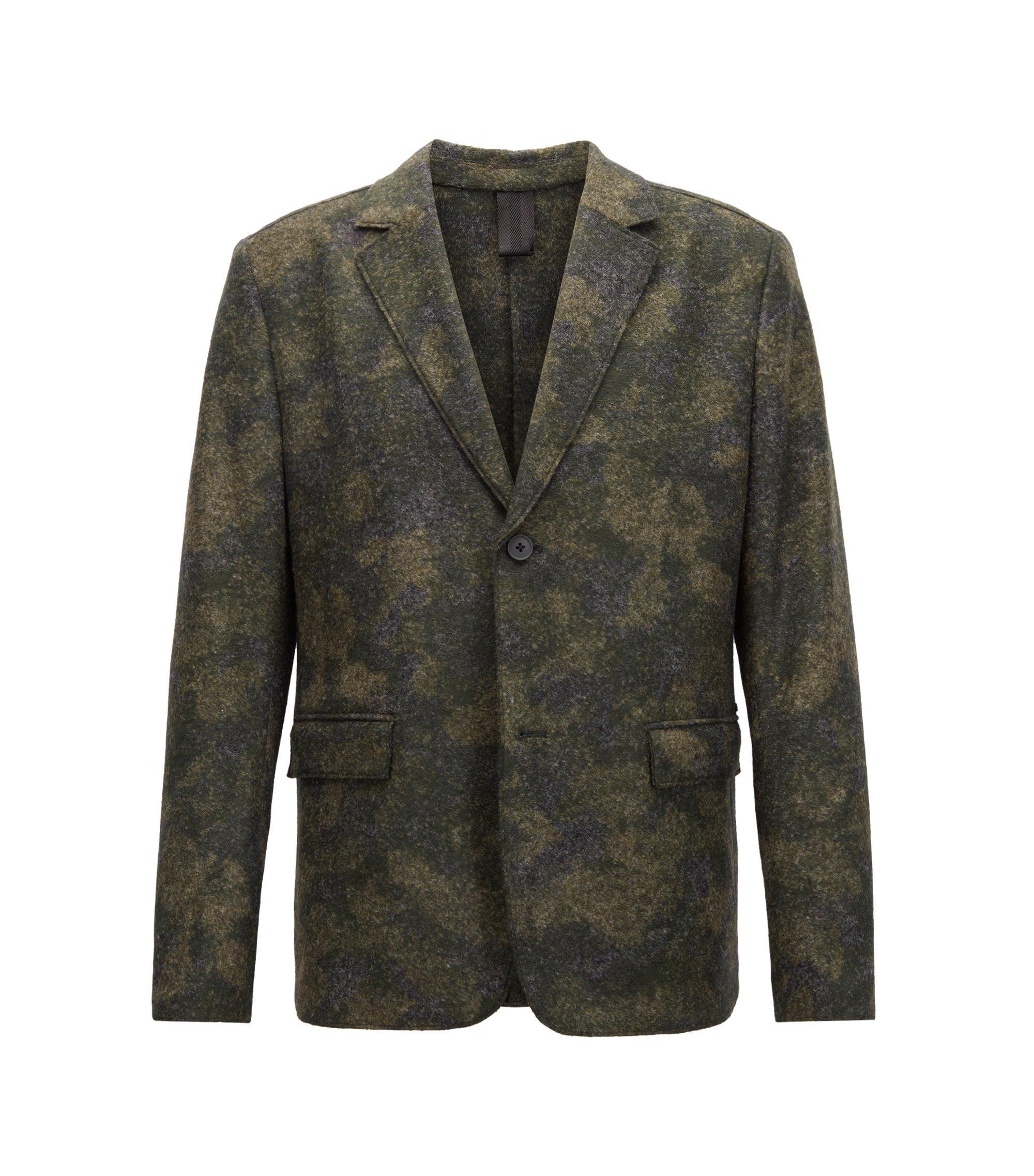 Blazer regular fit in tessuto feltrato realizzato in Italia, Verde scuro