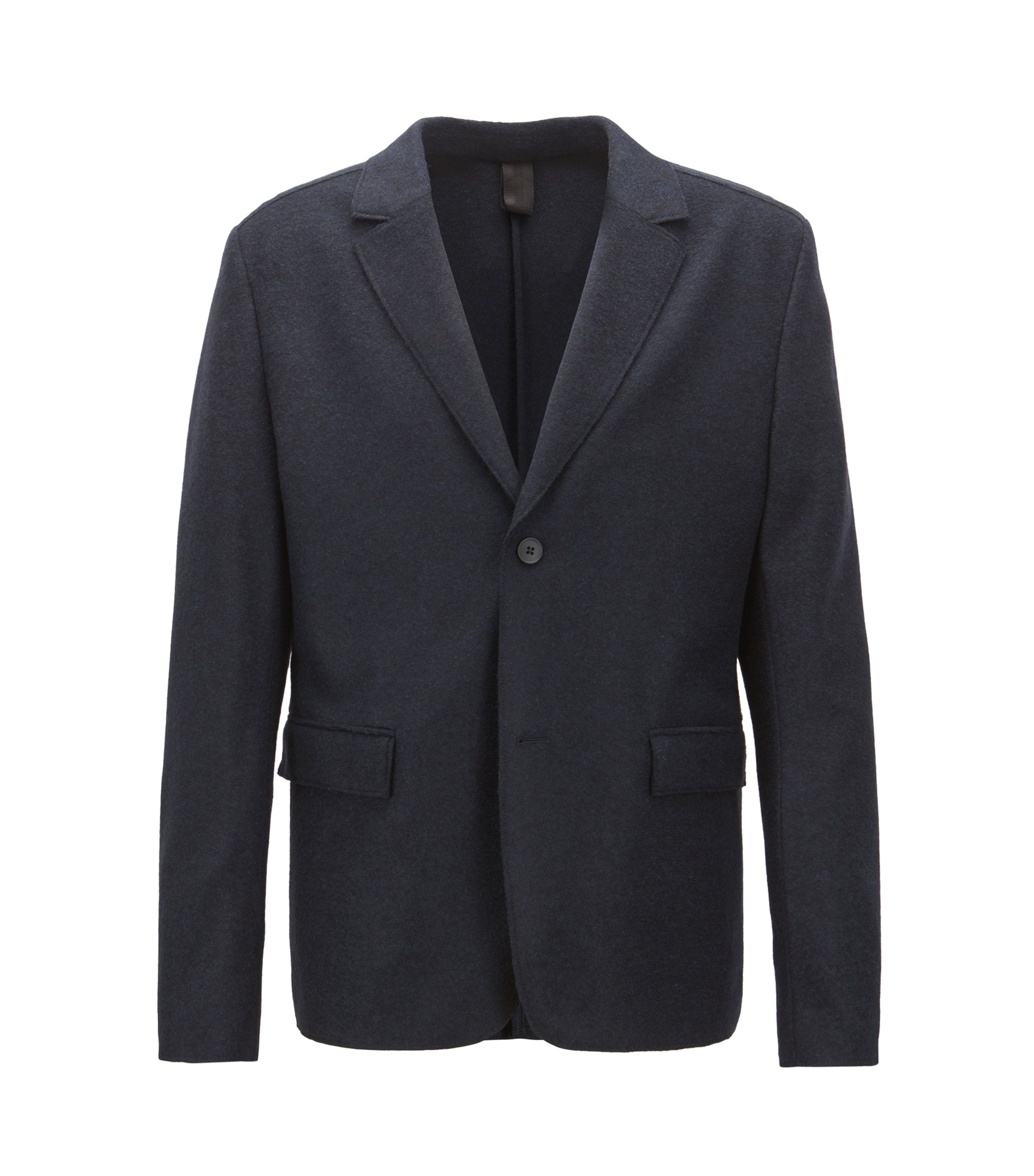 Blazer Regular Fit en tissu feutré italien, Bleu foncé