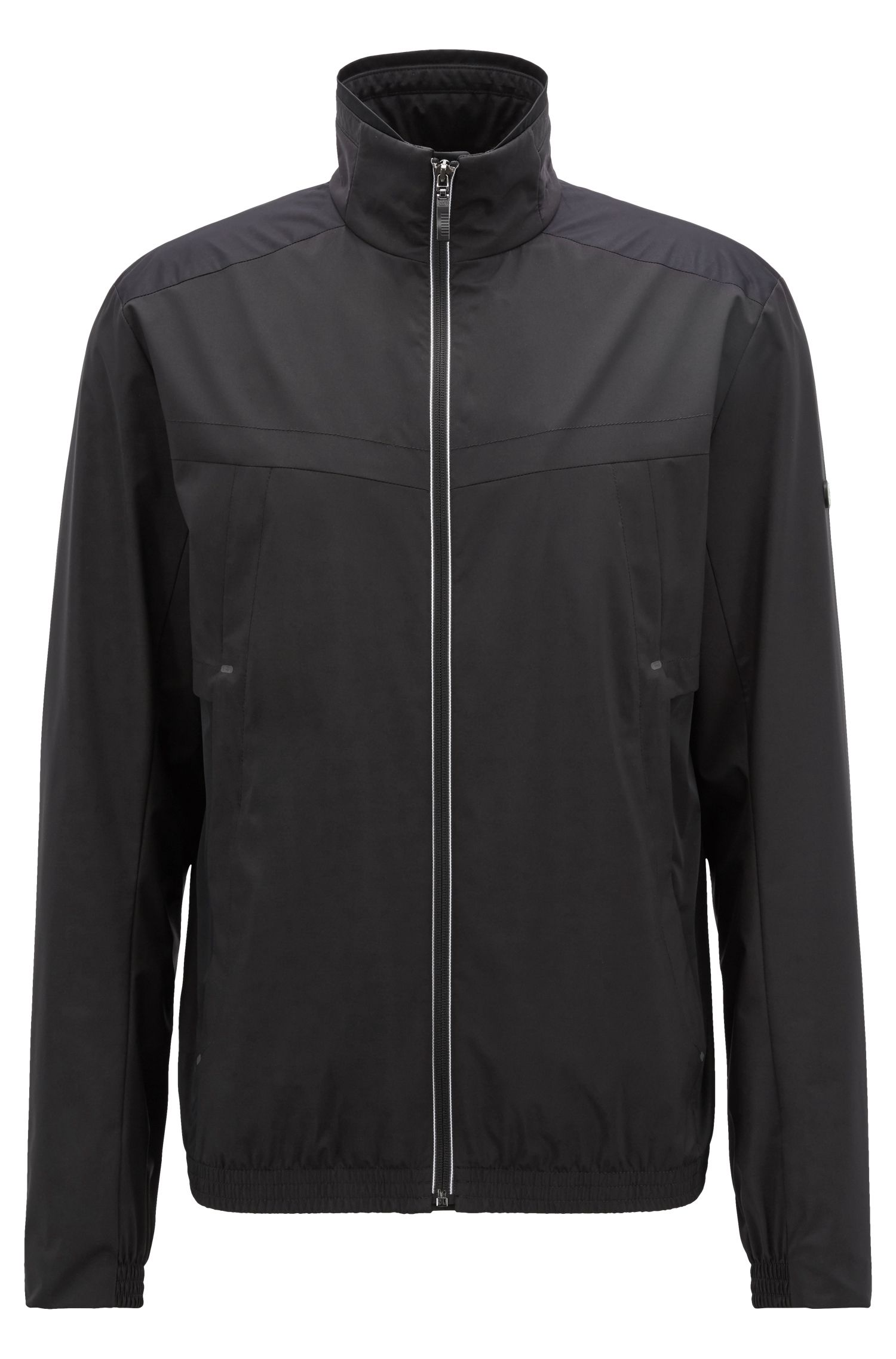 Waterproof jacket in two-layer soft-touch laminated fabric, Black