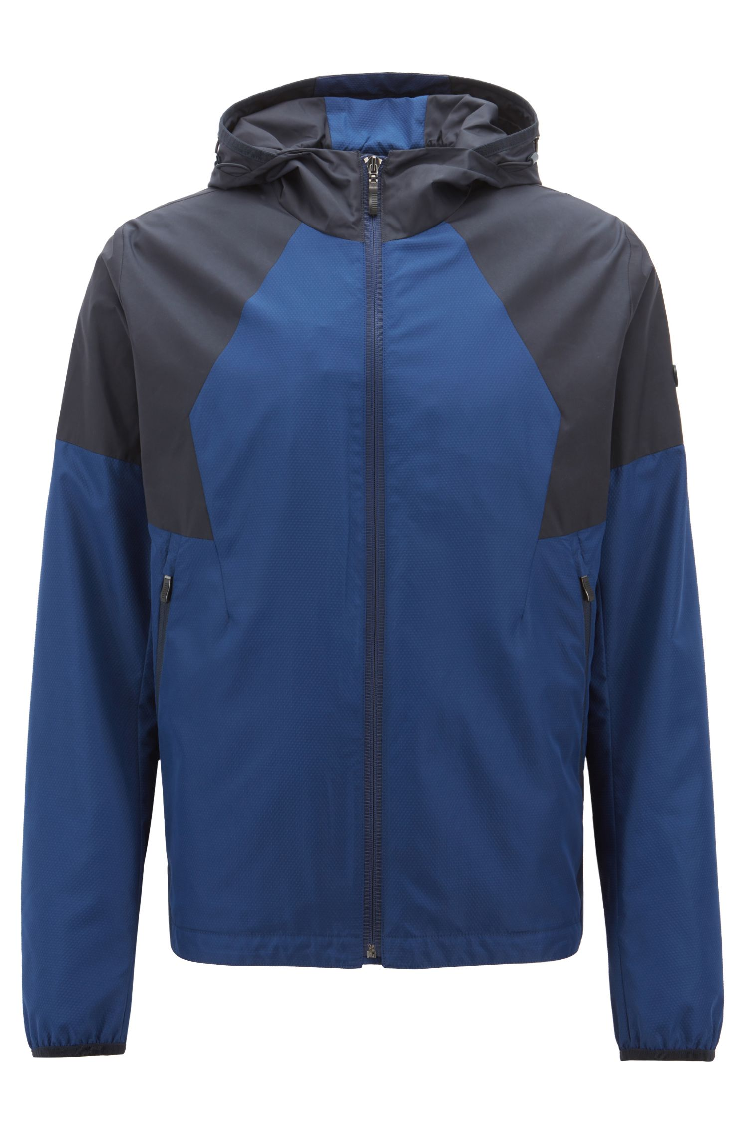 Waterproof jacket with electromagnetic-wave blocker and hood, Dark Blue