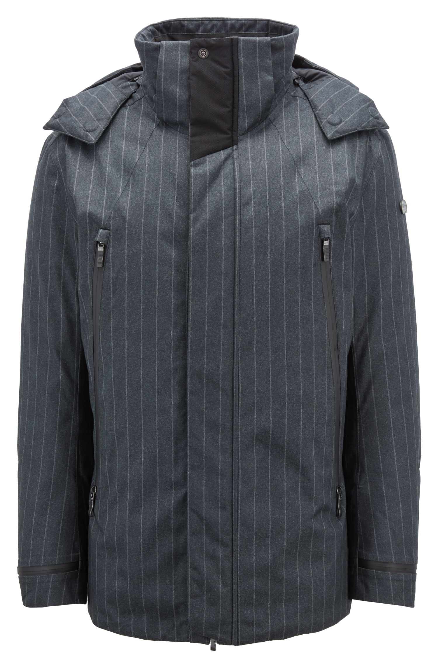 Waterproof down jacket in pinstripe technical fabric, Anthracite