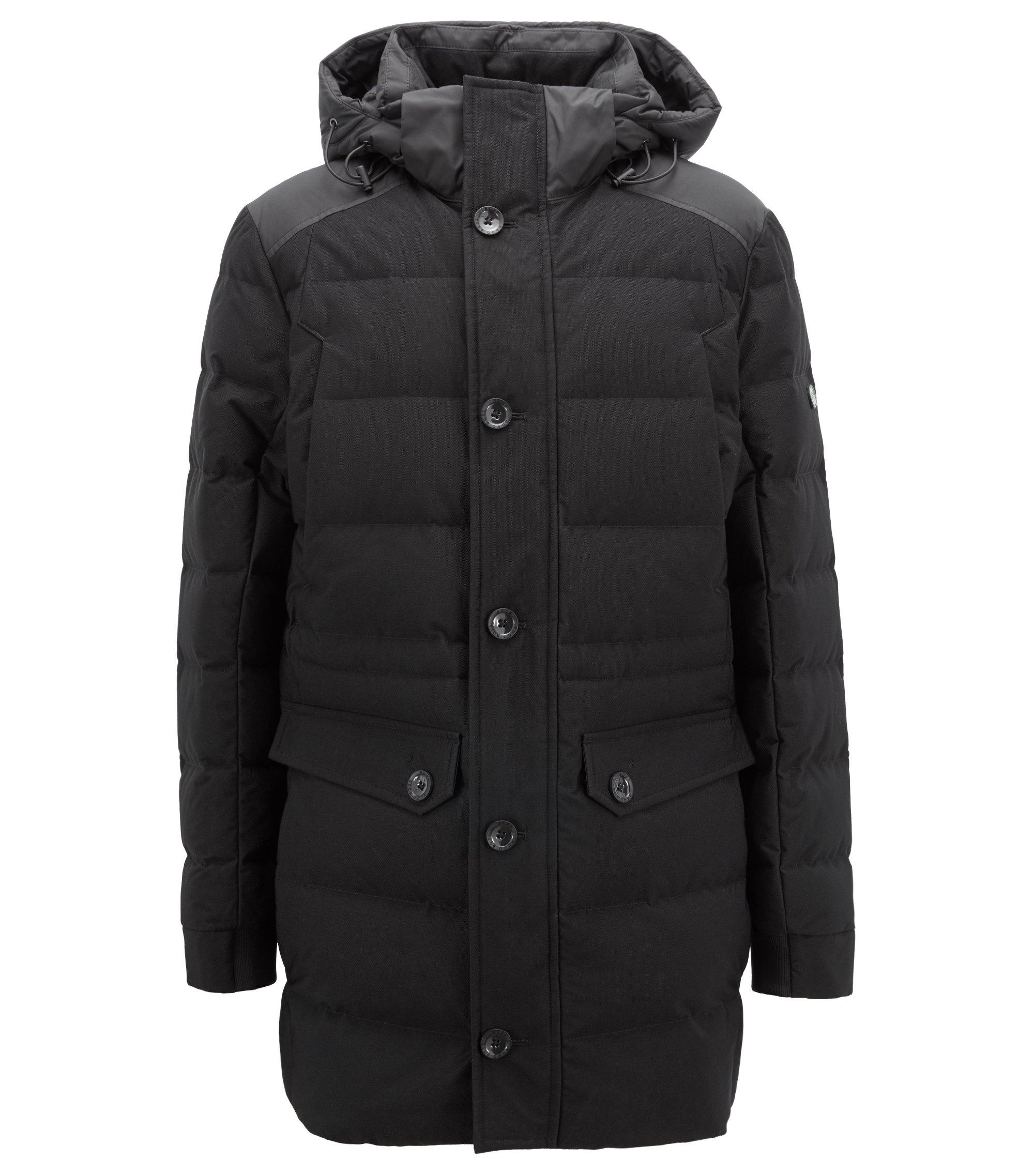 Waterafstotende mantel met donsvulling en bescherming tegen elektromagnetische straling, Zwart