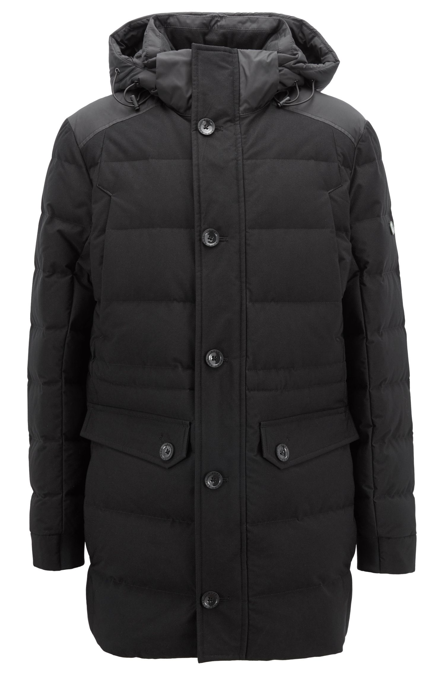 Water-repellent down-filled coat with electromagnetic-wave blocker, Black