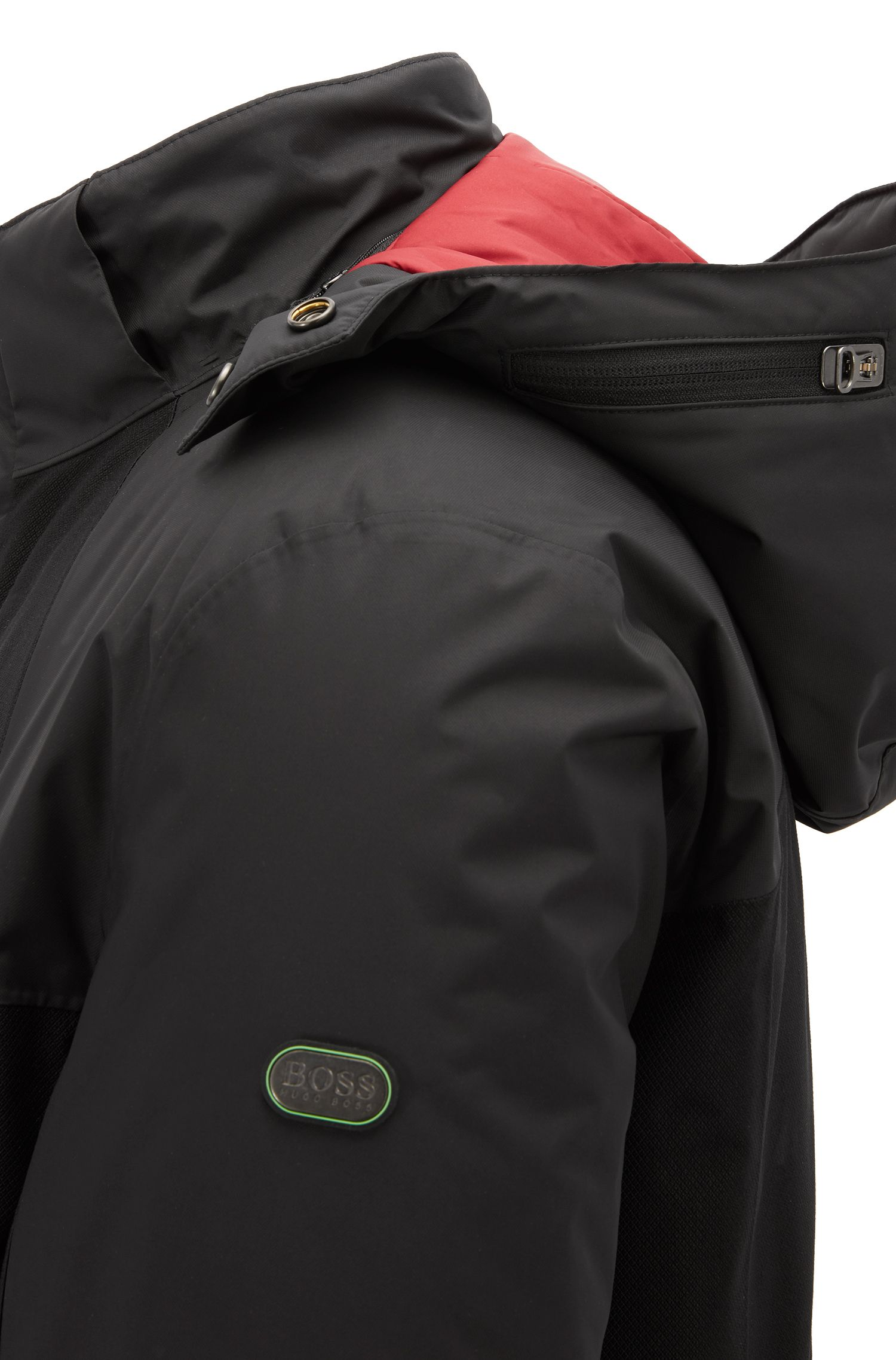 Heat System Outerwear jacket with detachable hood, Black