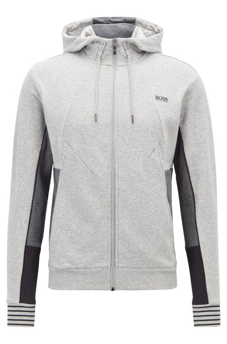 a136471c6370 BOSS - Hooded sweatshirt in French terry with colour-block detailing