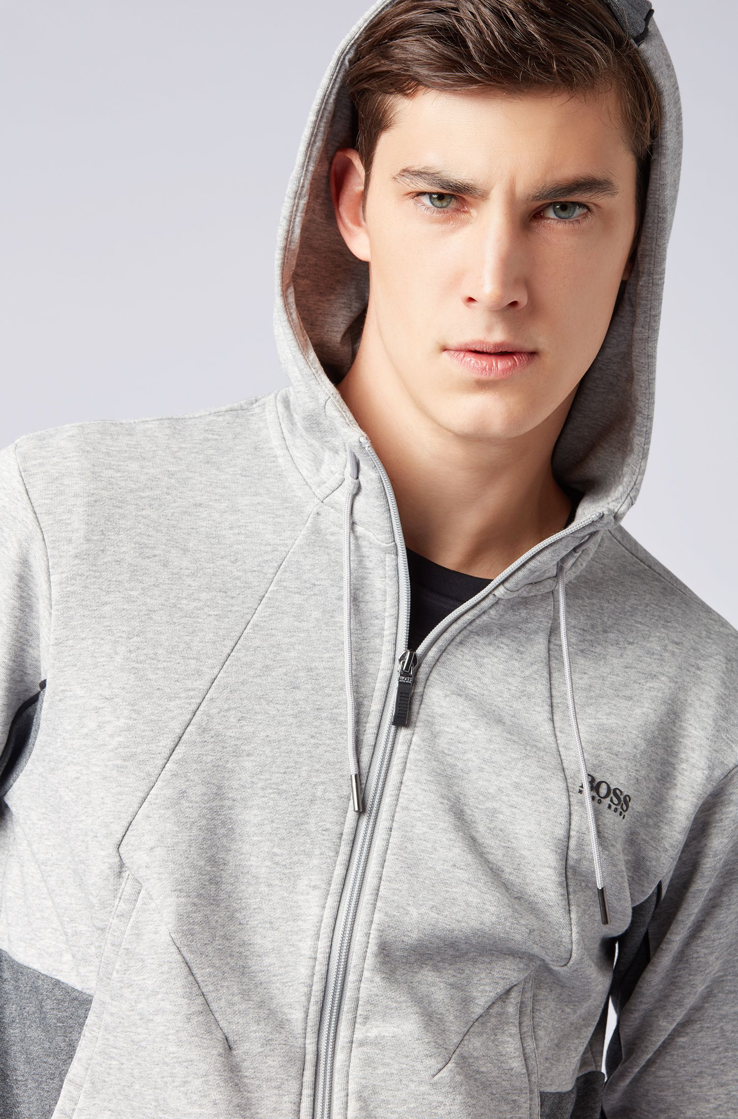 Hooded sweatshirt in French terry with colour-block detailing, Light Grey