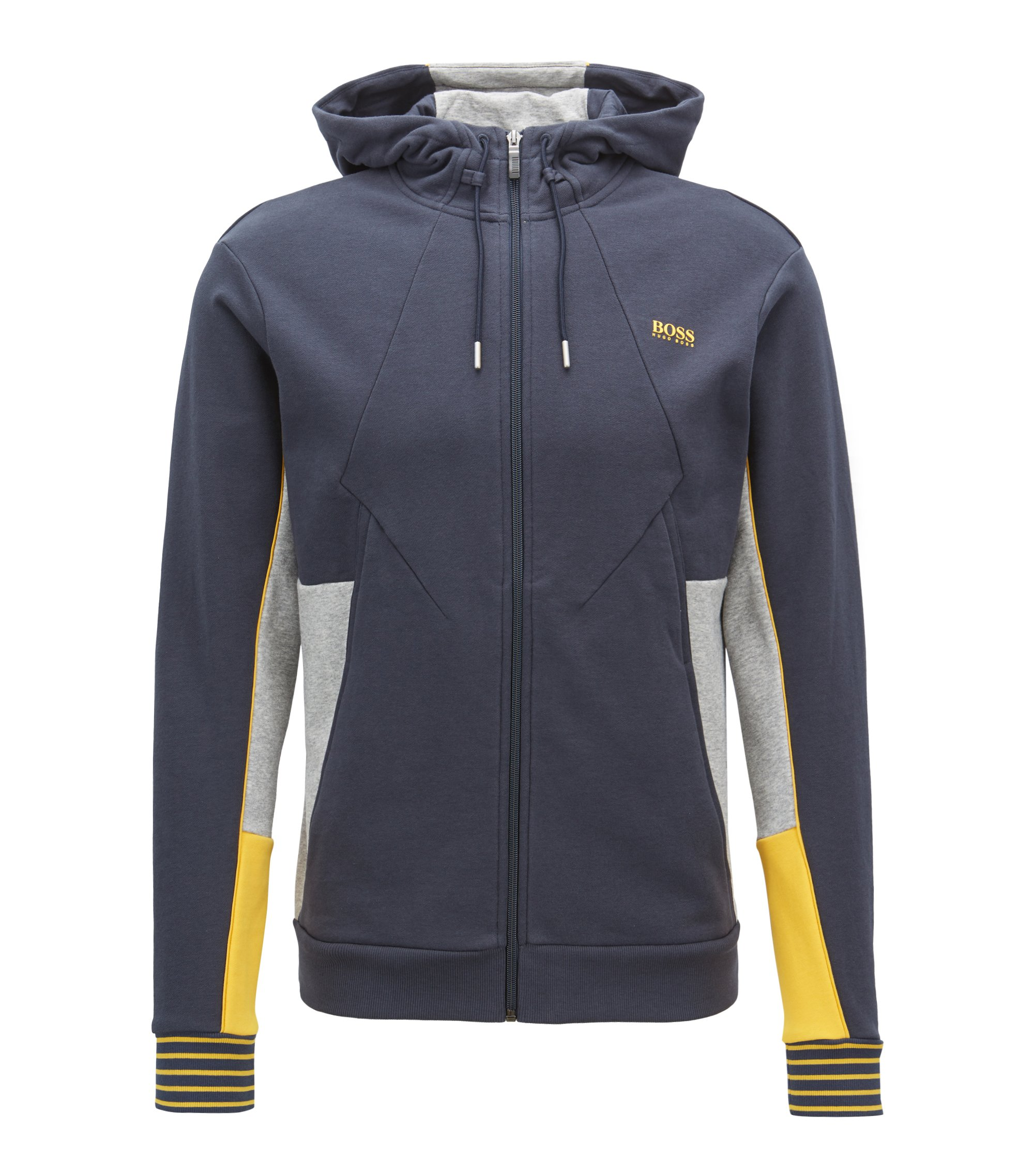 Hooded sweatshirt in French terry with colour-block detailing, Dark Blue