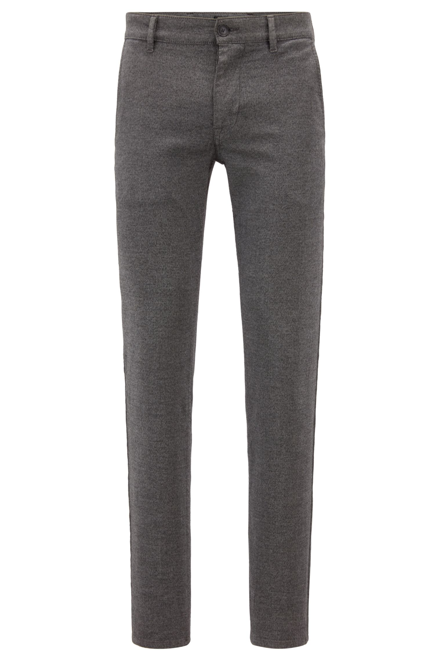 Slim-fit chino in een oververfde twill met stretch, Lichtgrijs
