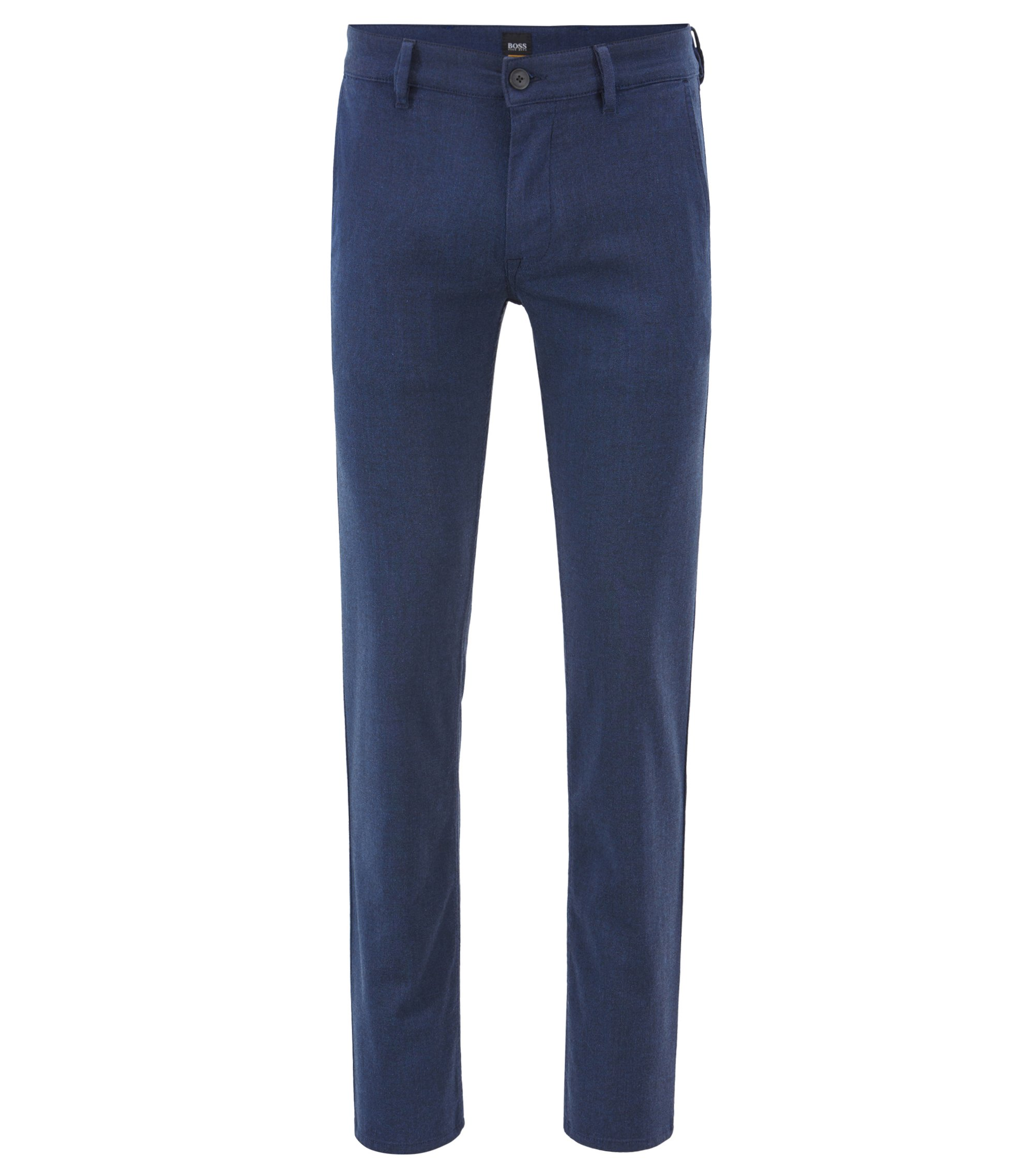 Slim-fit chino in een oververfde twill met stretch, Donkerblauw