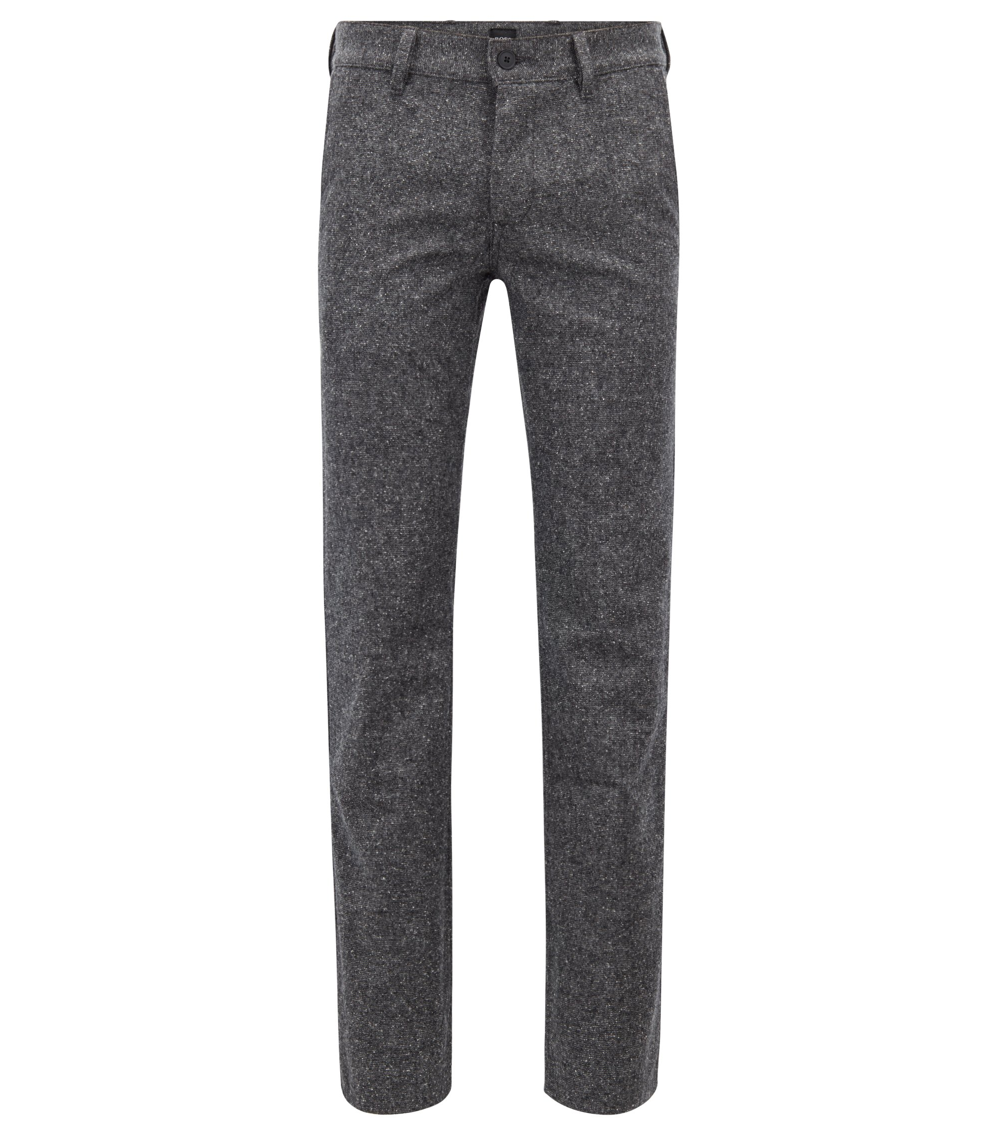 Regular-fit chinos in Italian melange dobby fabric, Light Grey