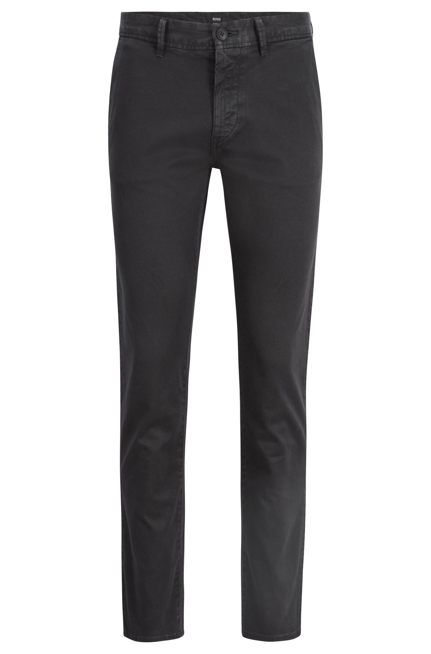 Chino Slim Fit en twill de coton stretch à la teinture pigmentaire, Noir