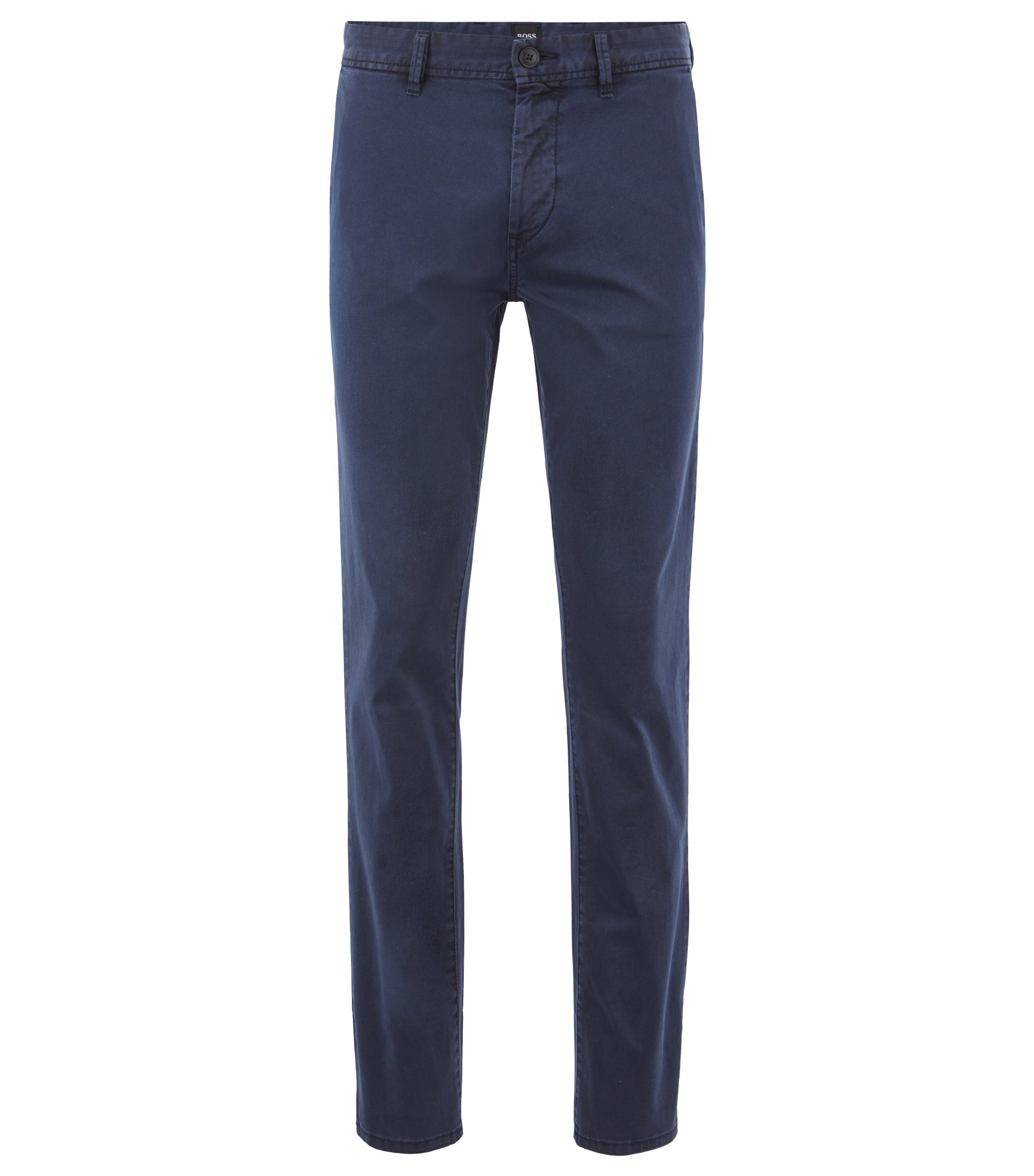 Slim-fit chinos in pigment-dyed stretch cotton twill, Dark Blue