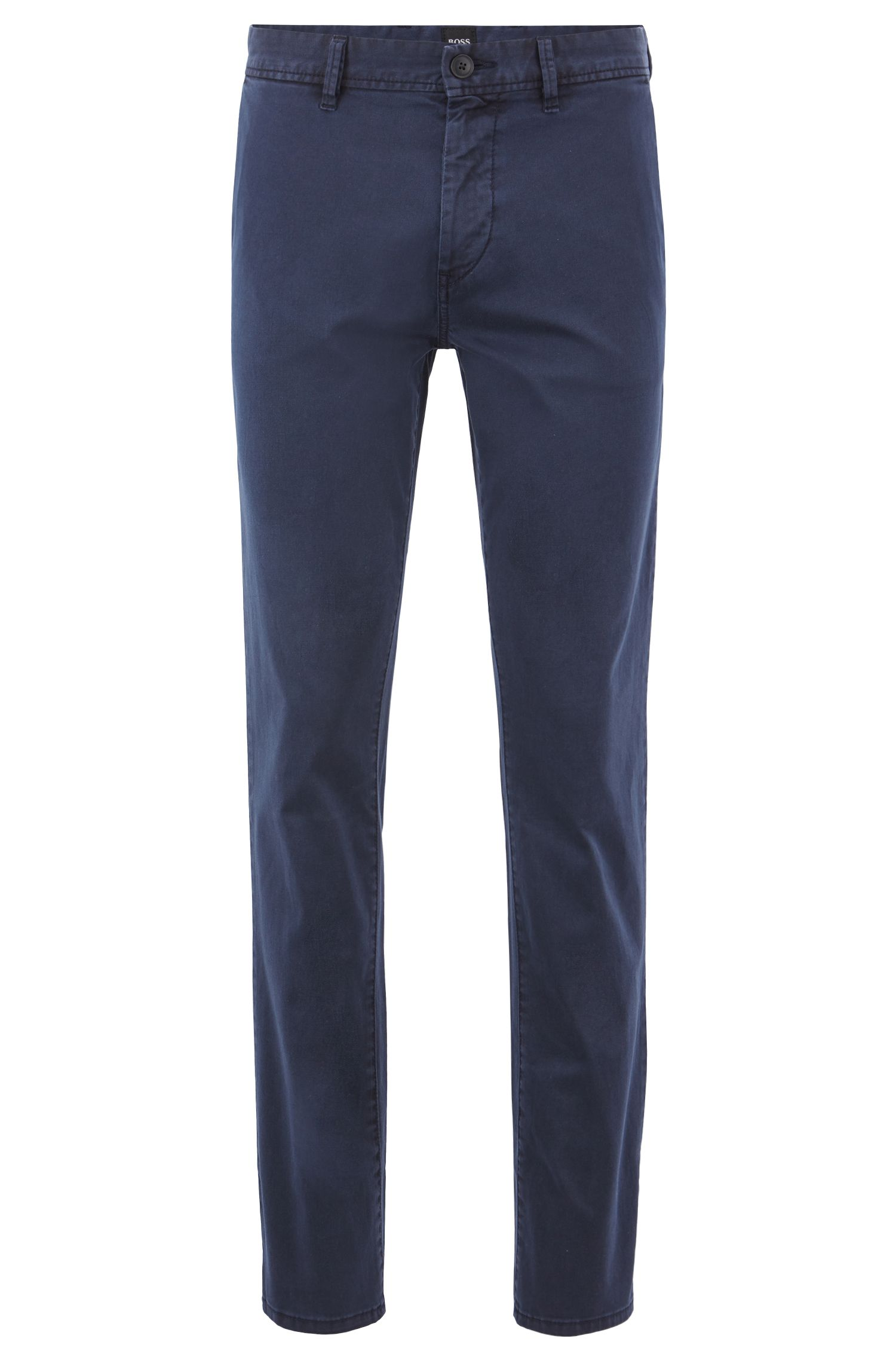 Chino Slim Fit en twill de coton stretch à la teinture pigmentaire, Bleu foncé