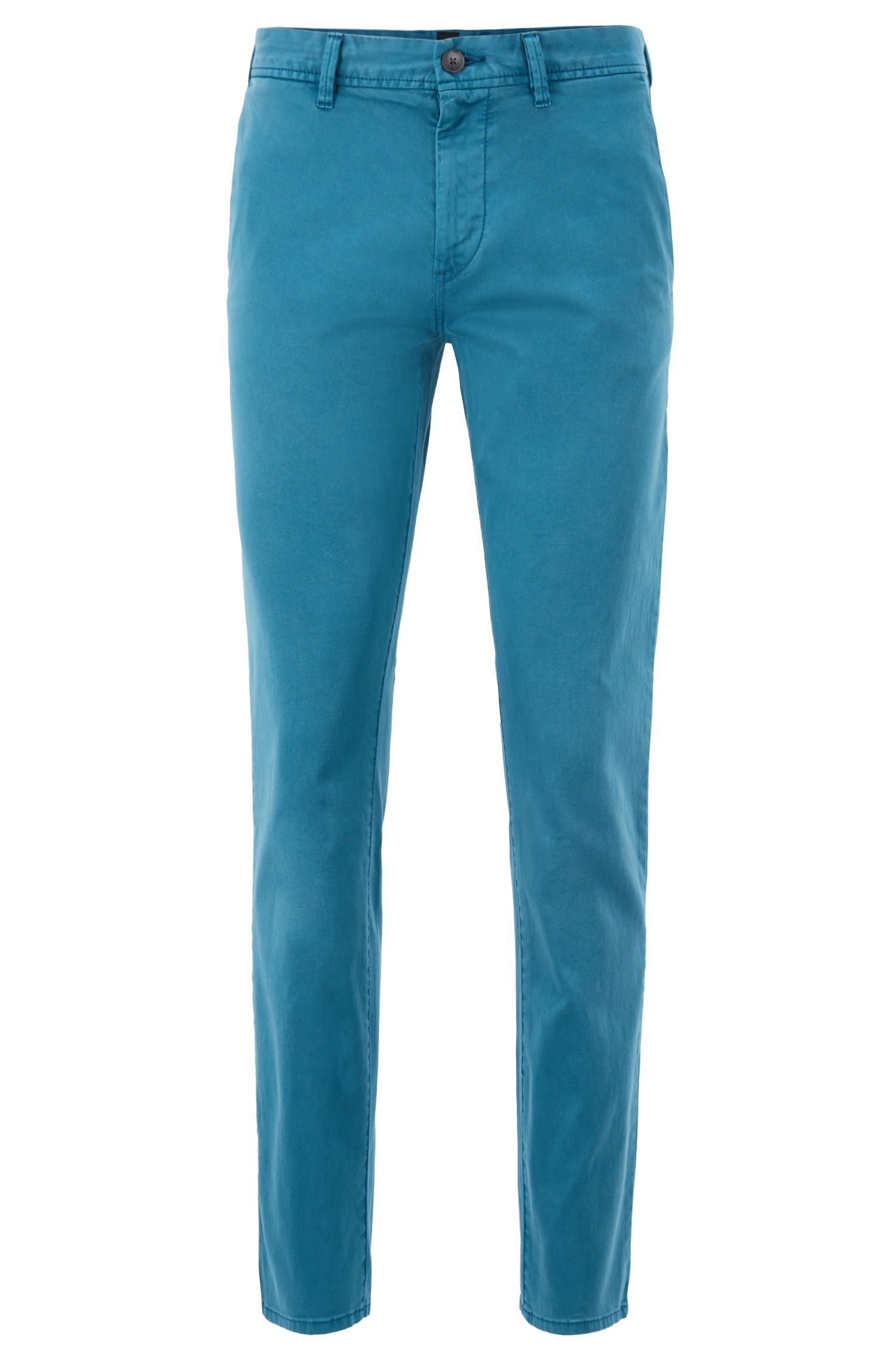 Chino Slim Fit en twill de coton stretch à la teinture pigmentaire, Turquoise