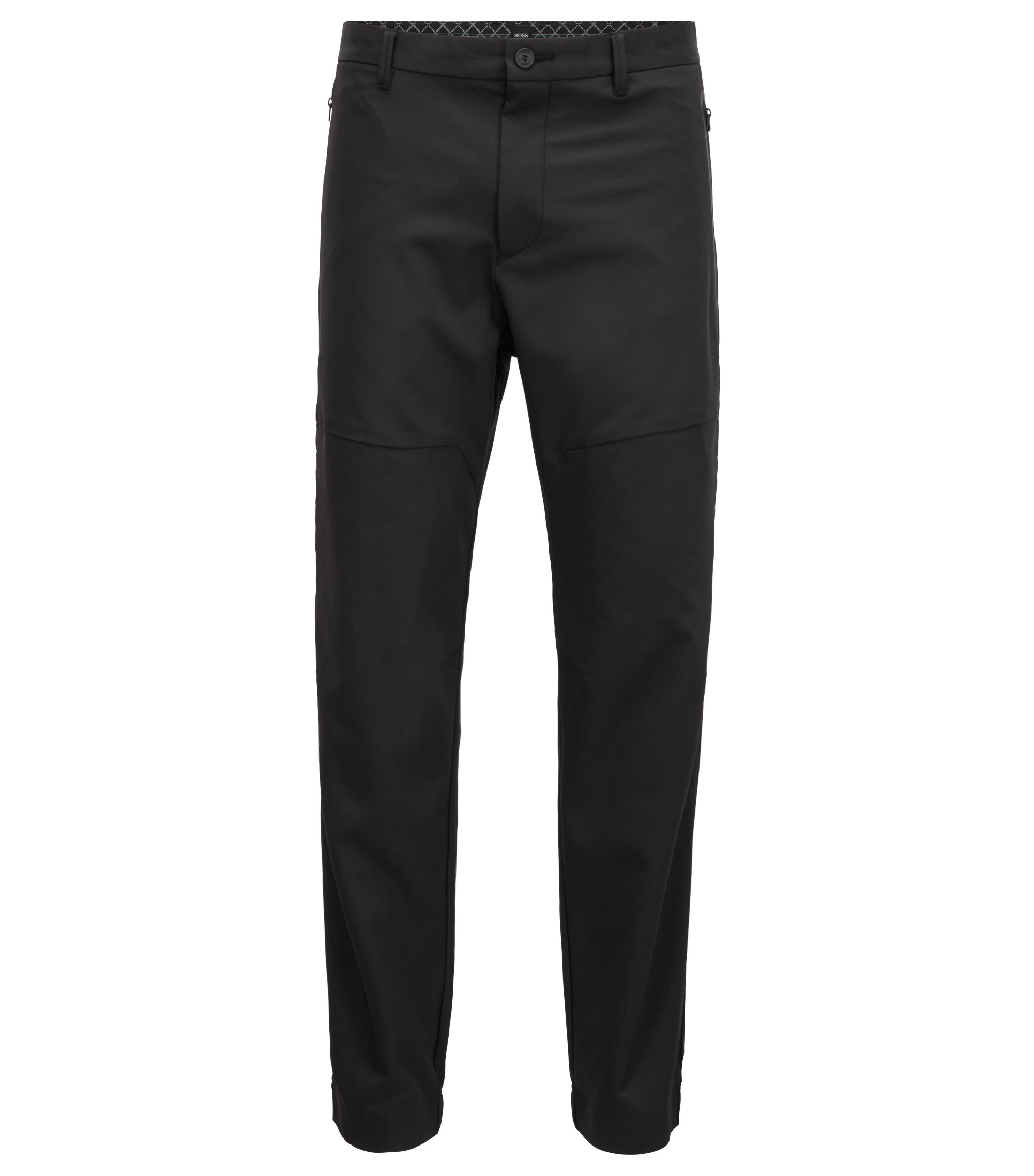 Cuffed trousers in water-repellent four-way-stretch twill, Black