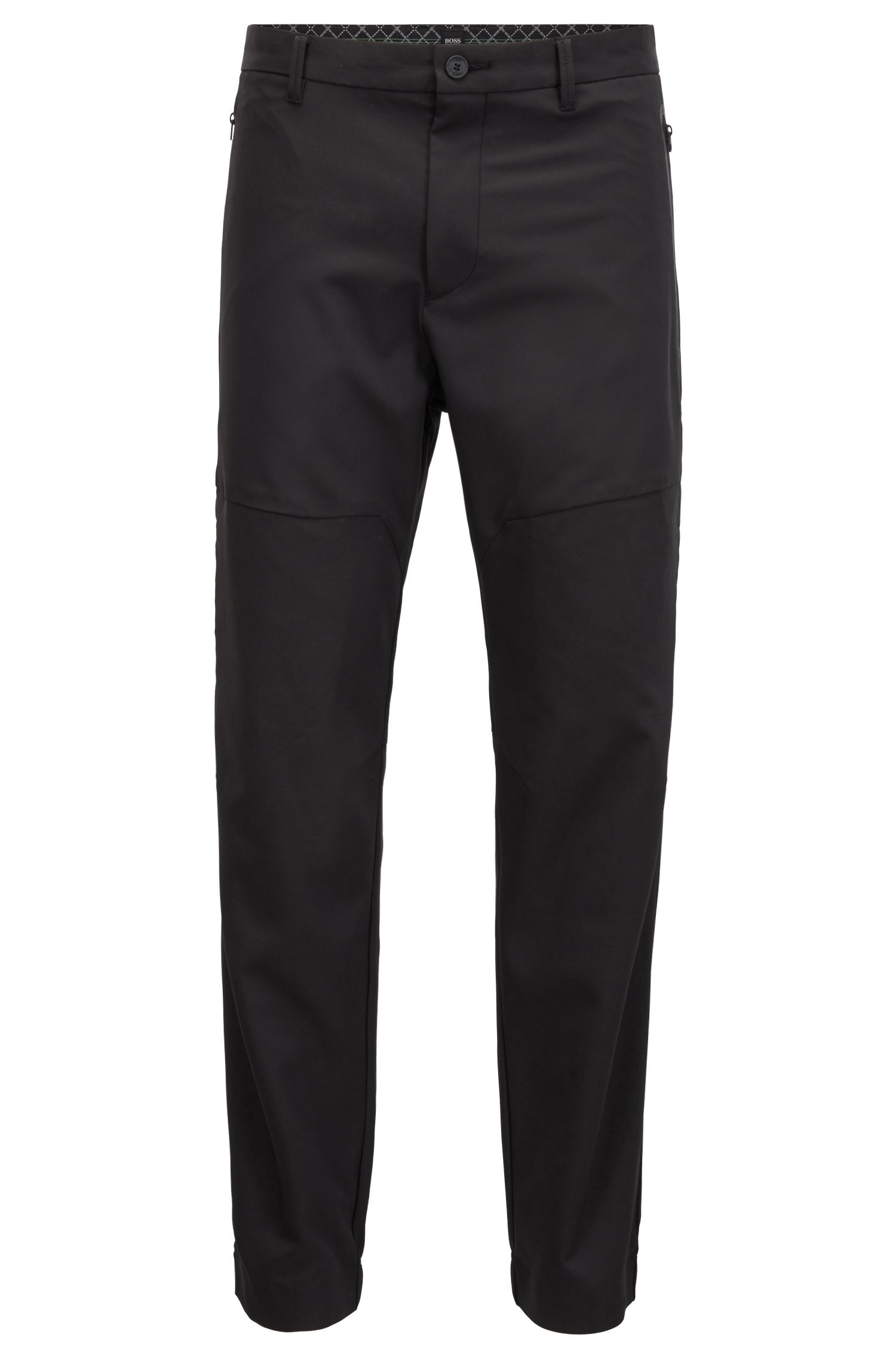 Pantalon en twill stretch quadri-extensible imperméable, resserré au bas des jambes, Noir