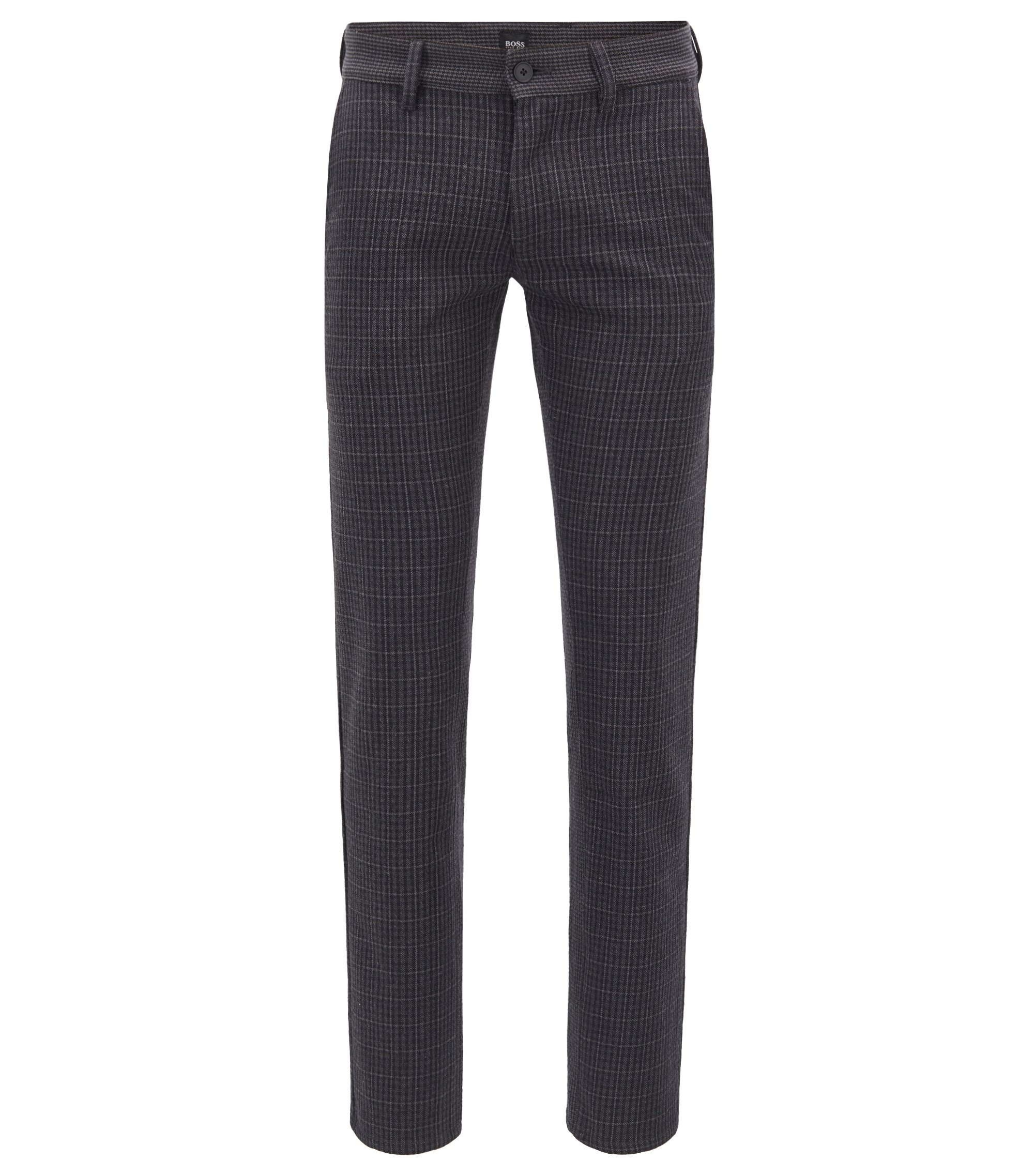 Slim-fit mix-checked trousers in an Italian cotton blend, Black
