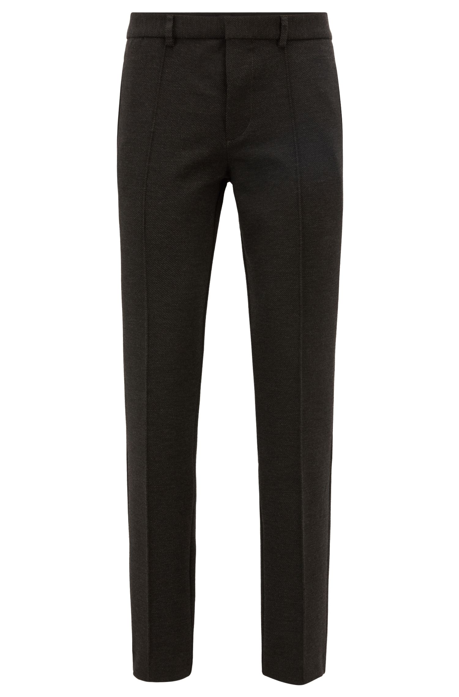 Tapered-fit trousers in interlock stretch jersey, Anthracite