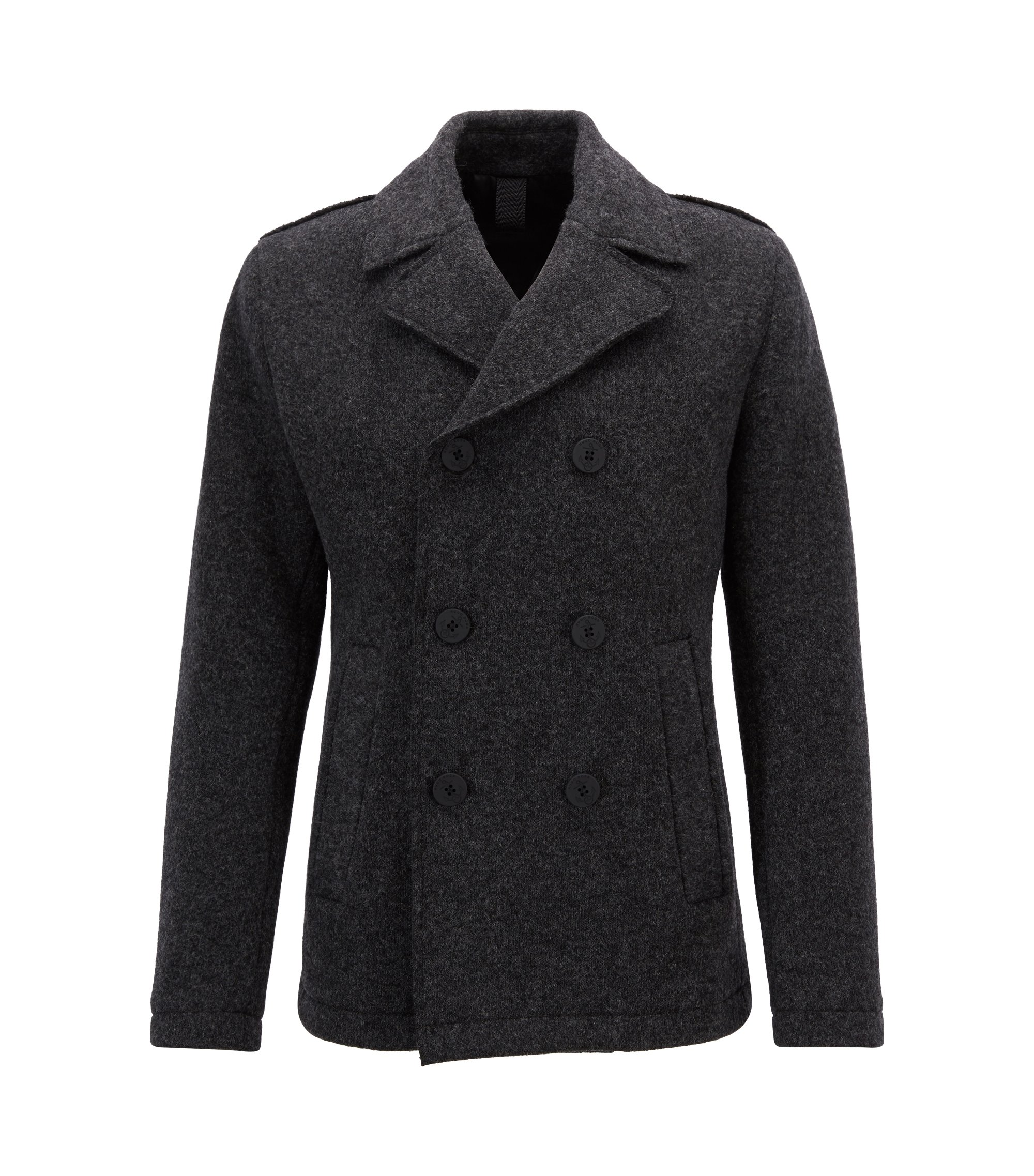 Slim-fit Caban coat in Italian-made fabric, Dark Grey
