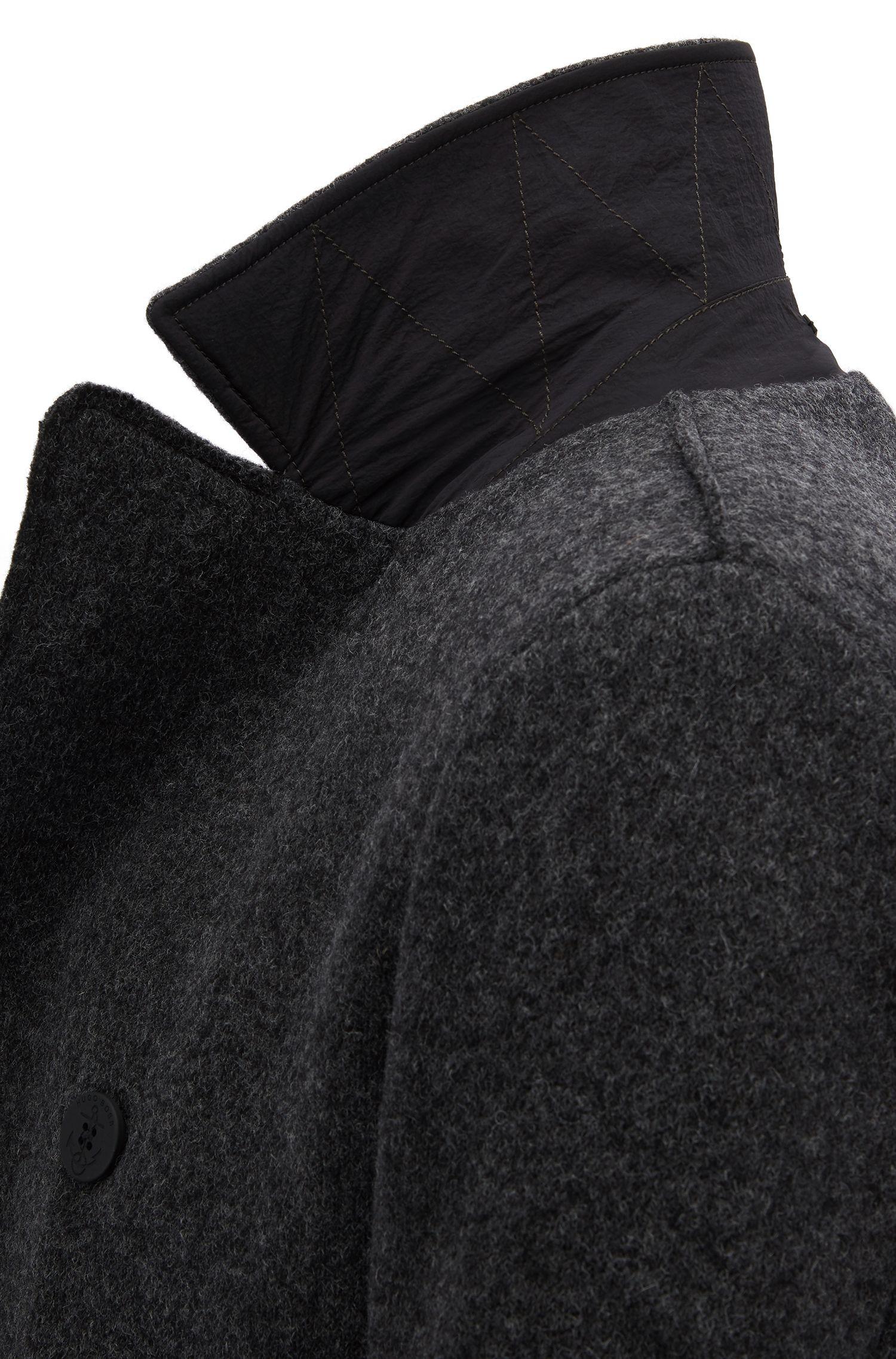 Gabán slim fit en tejido fabricado en Italia, Gris oscuro