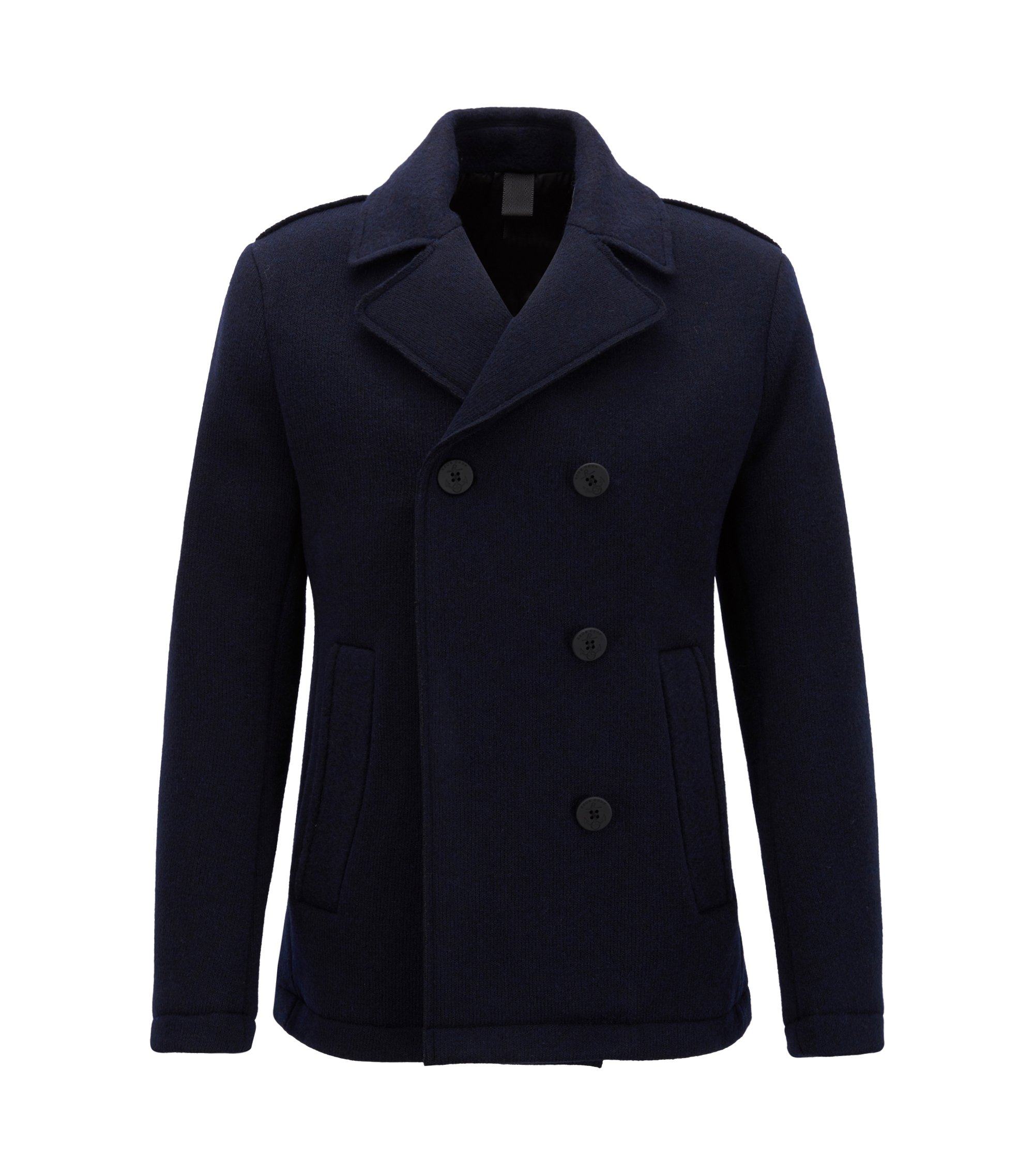 Slim-fit Caban coat in Italian-made fabric, Dark Blue