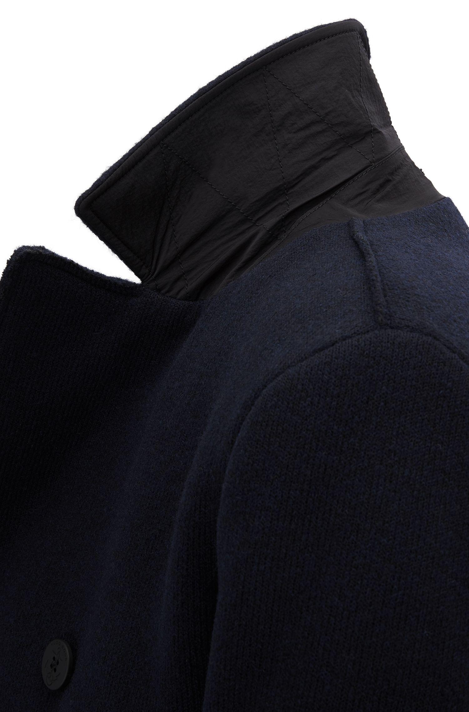 Cappotto caban slim fit in tessuto realizzato in Italia, Blu scuro