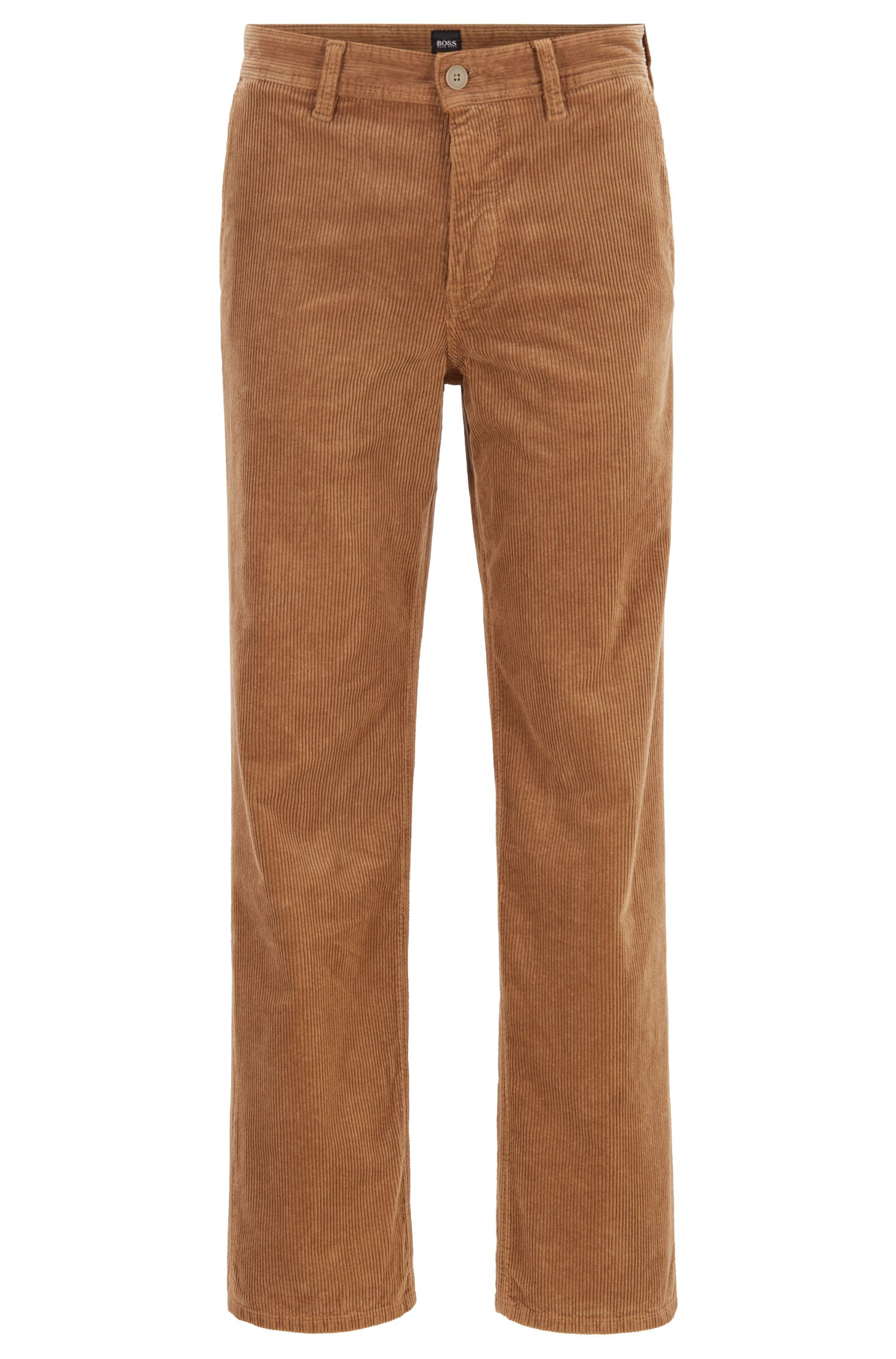 Pantalon Regular Fit en velours côtelé italien stretch, Marron