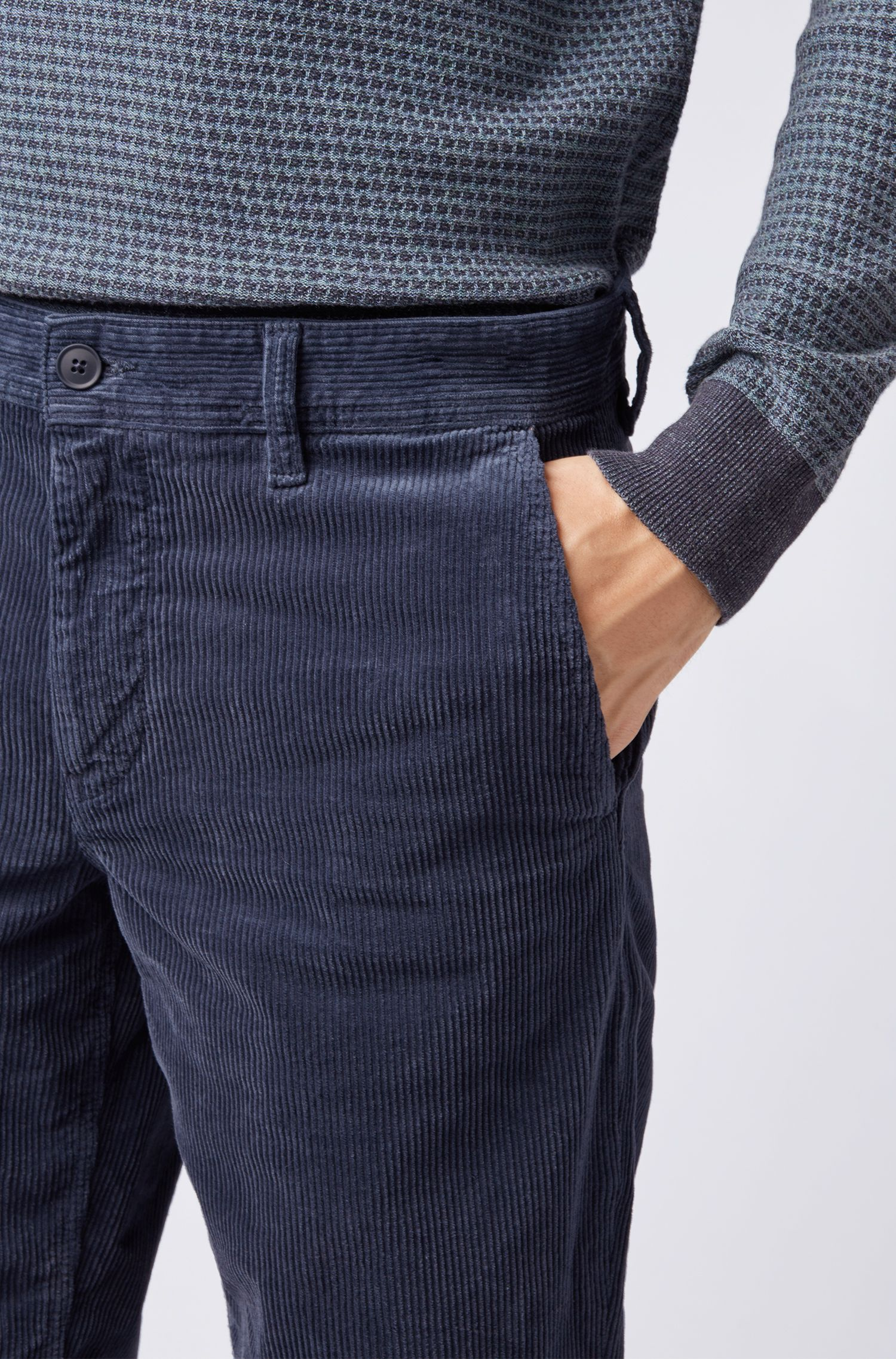 Regular-fit trousers in Italian stretch corduroy, Dark Blue