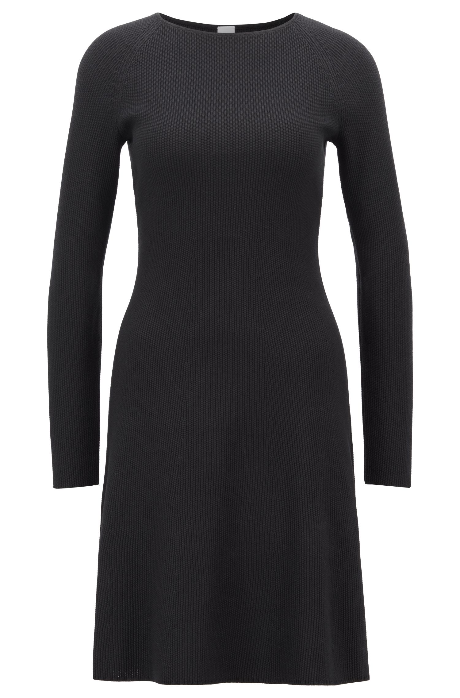 Knitted dress in a cotton blend with raglan sleeves, Black