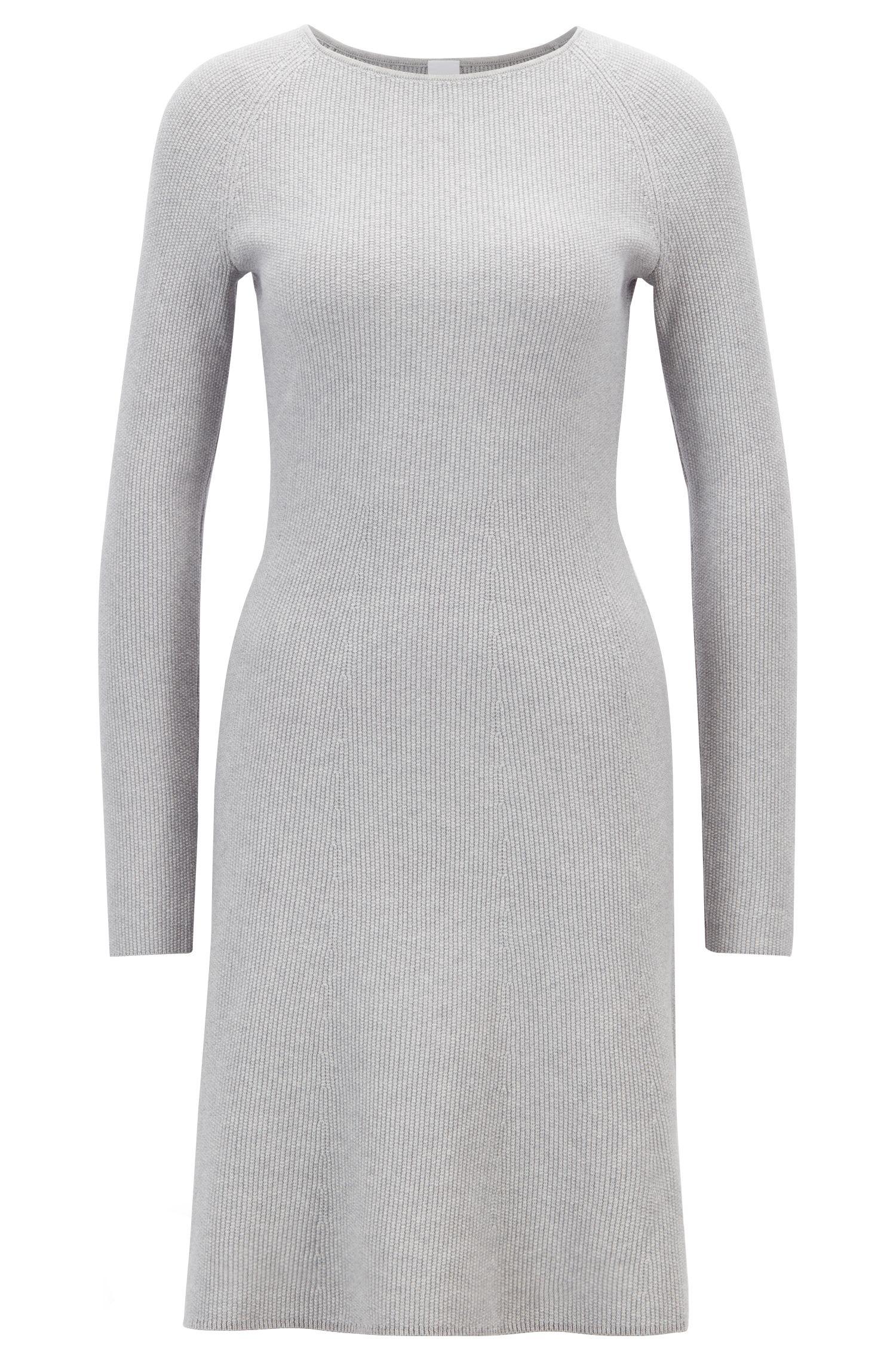 Robe en maille de coton mélangé, avec manches raglan, Argent